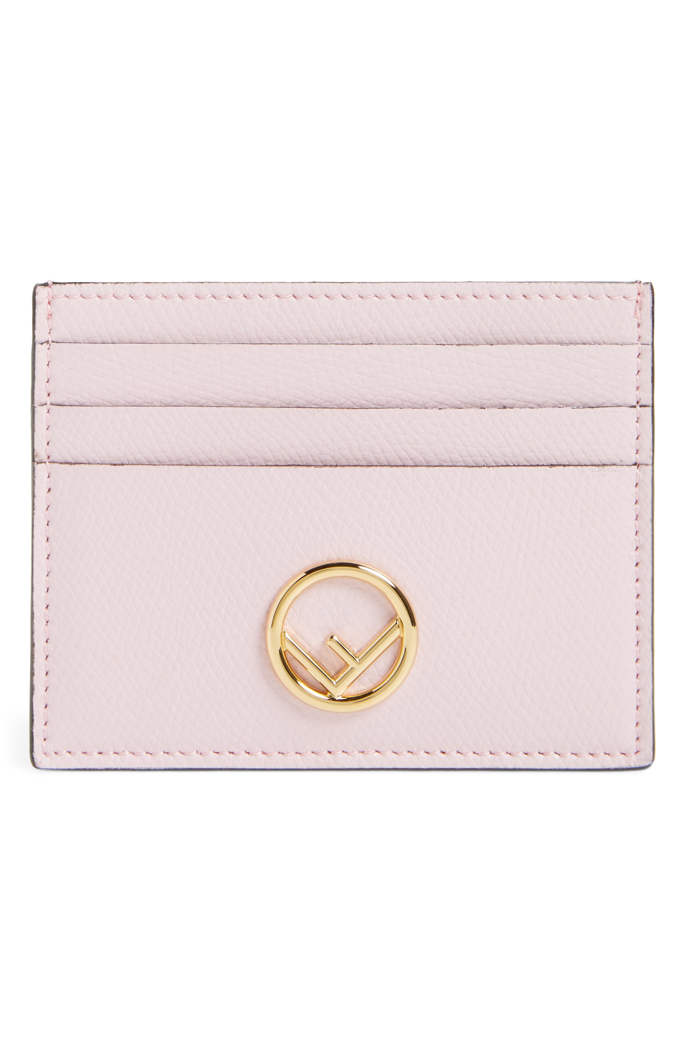 Leather Card Case,                             Main thumbnail 1, color,                             Peony/ Oro Soft