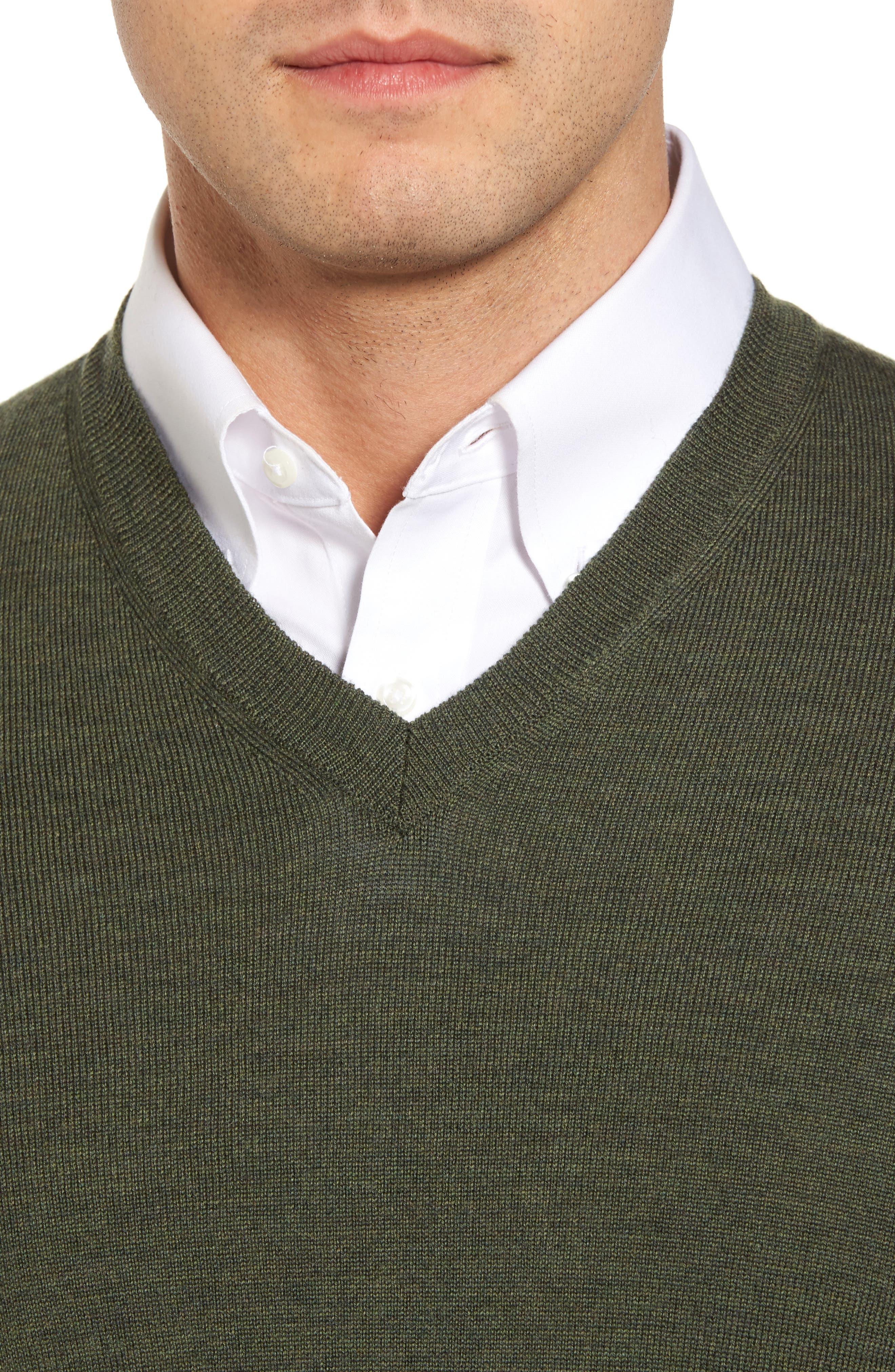 Alternate Image 4  - Thomas Dean Merino Wool Blend V-Neck Sweater