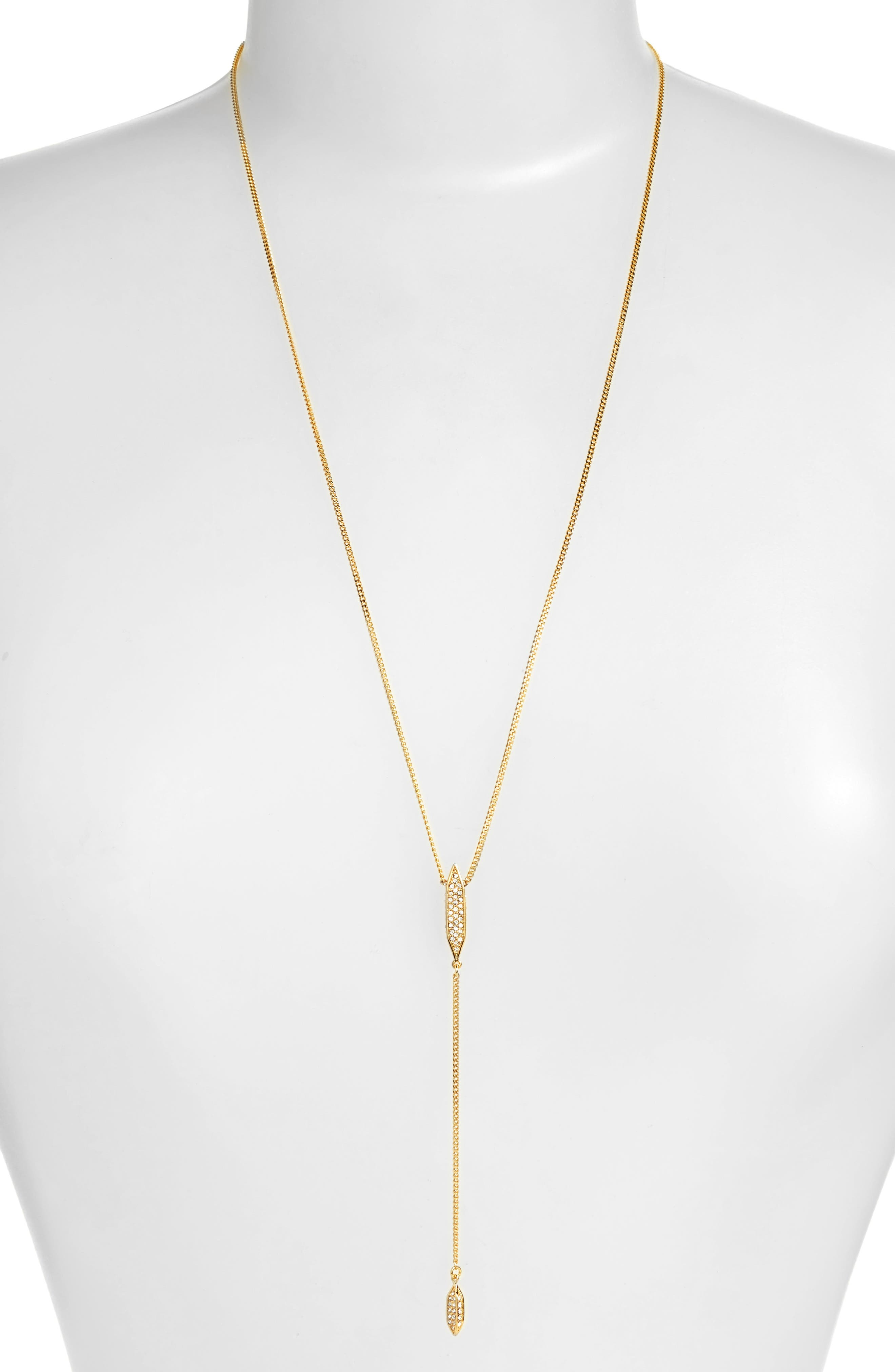 Crystal Y-Necklace,                             Main thumbnail 1, color,                             Gold