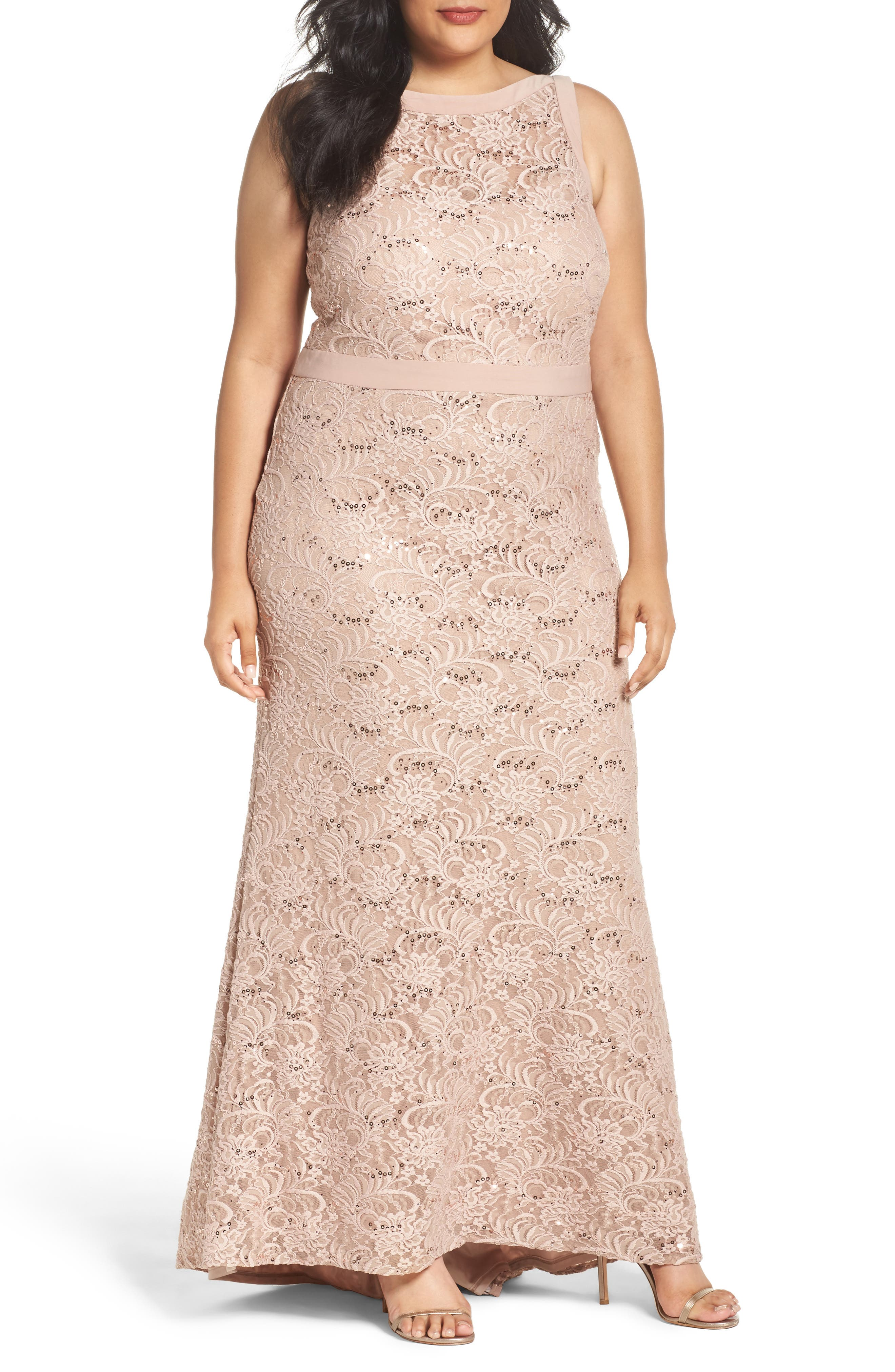 Morgan & Co. Lace Square Neck Gown (Plus Size)