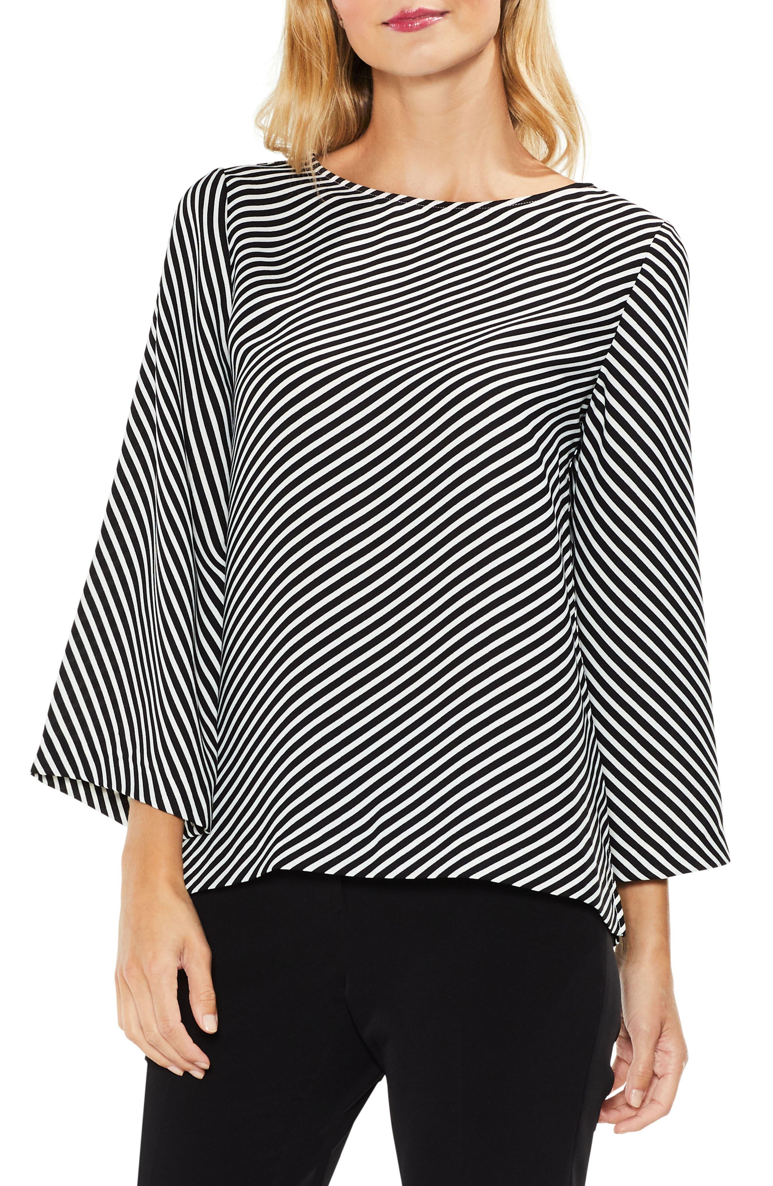 Diagonal Stripe Blouse,                         Main,                         color, Rich Black