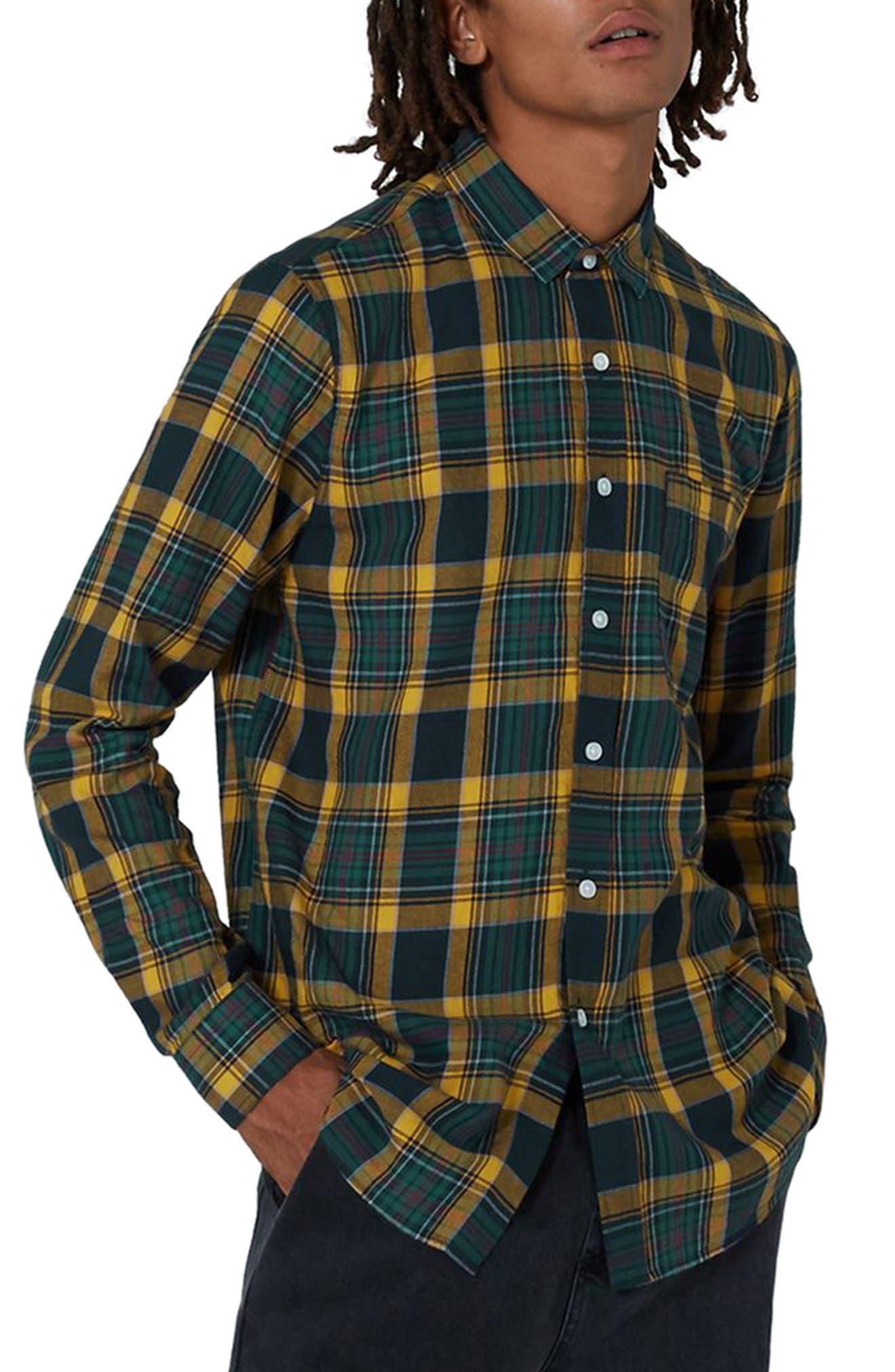 Trim Fit Check Shirt,                             Main thumbnail 1, color,                             Navy Blue Multi