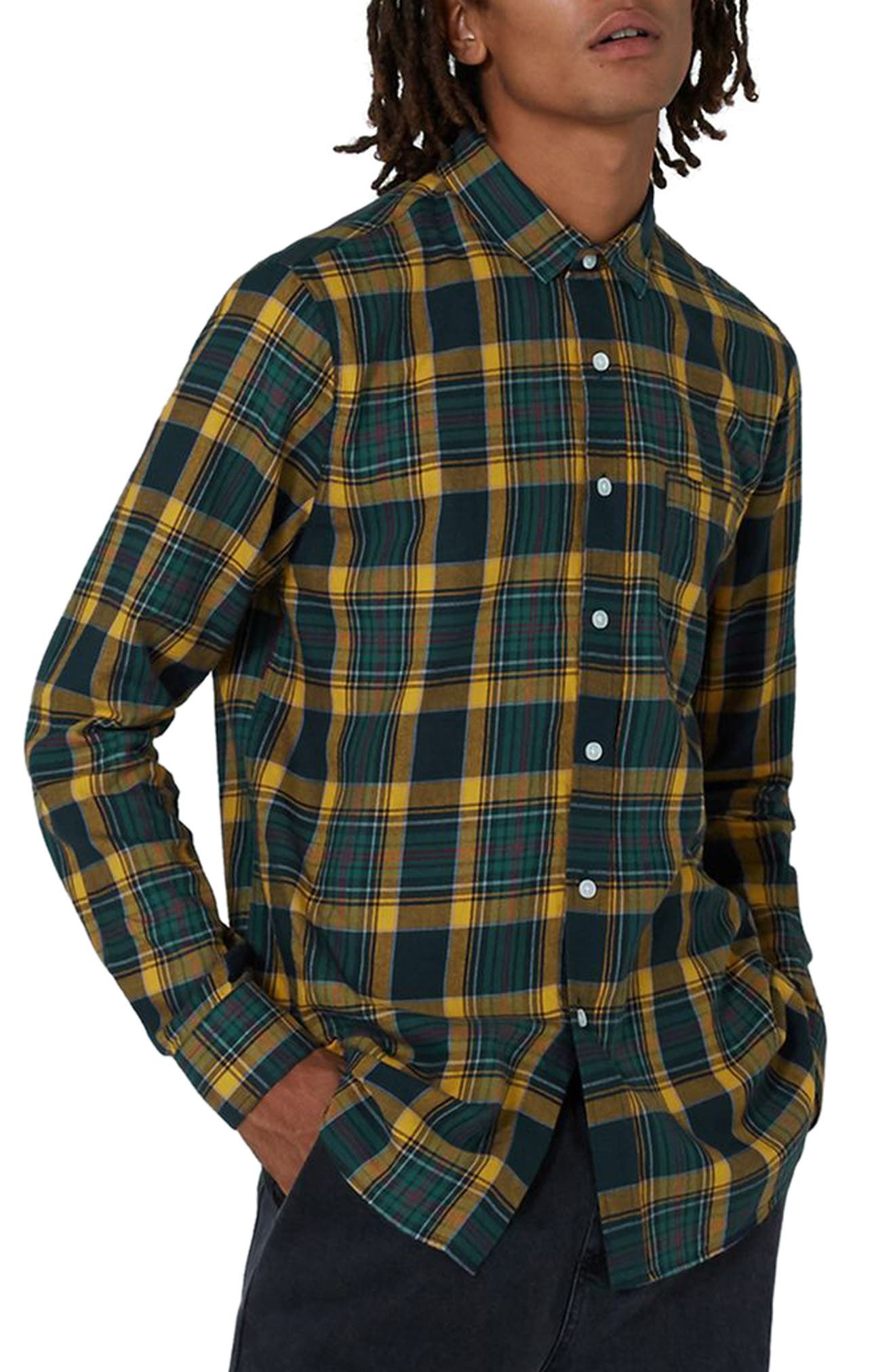 Trim Fit Check Shirt,                         Main,                         color, Navy Blue Multi