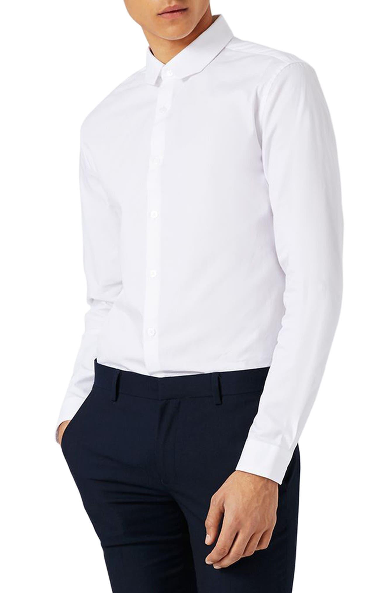 Trim Fit Chisel Collar Dress Shirt,                             Alternate thumbnail 2, color,                             White