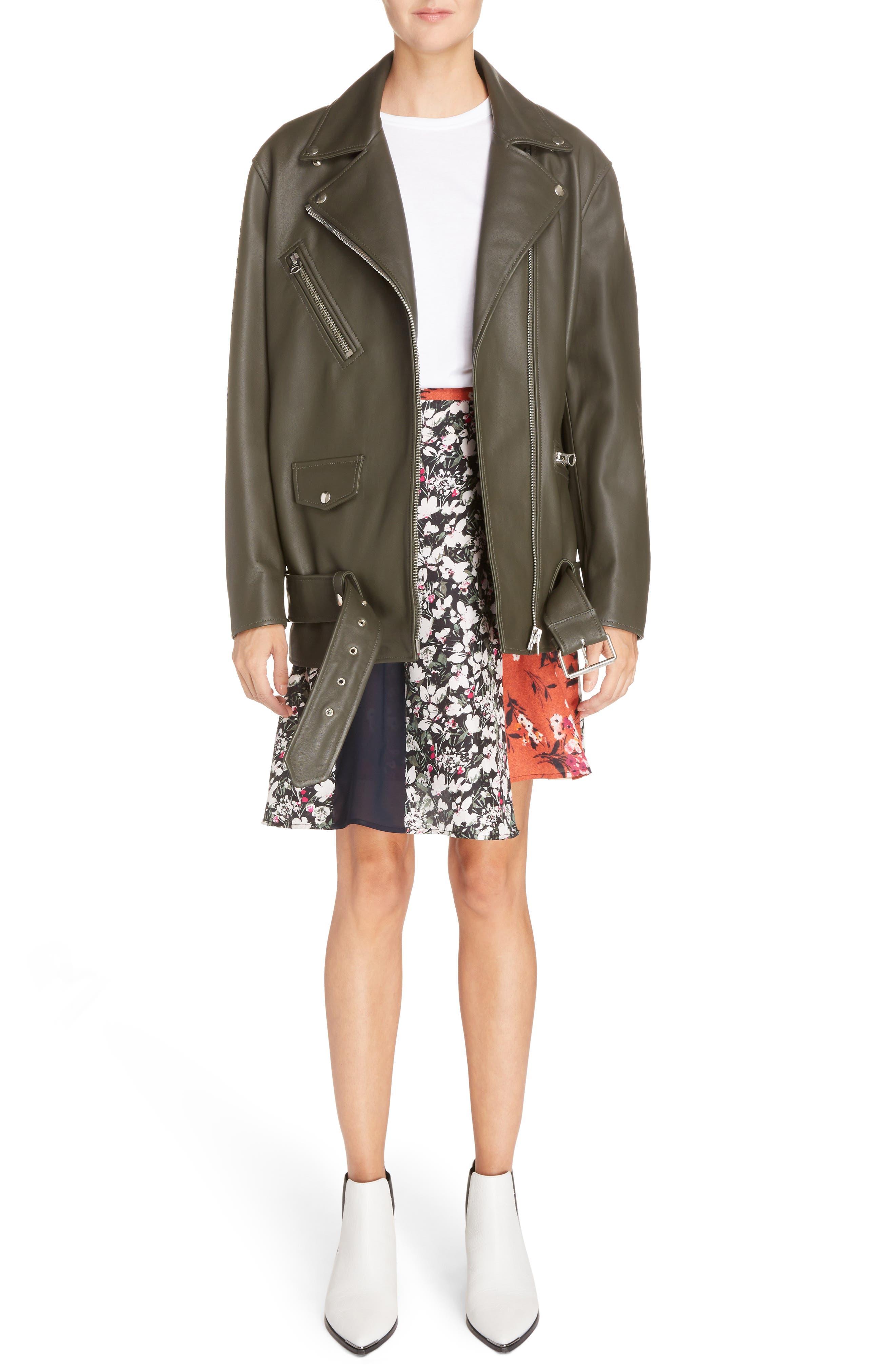 Myrtle Leather Jacket,                             Alternate thumbnail 2, color,                             Dark Khaki