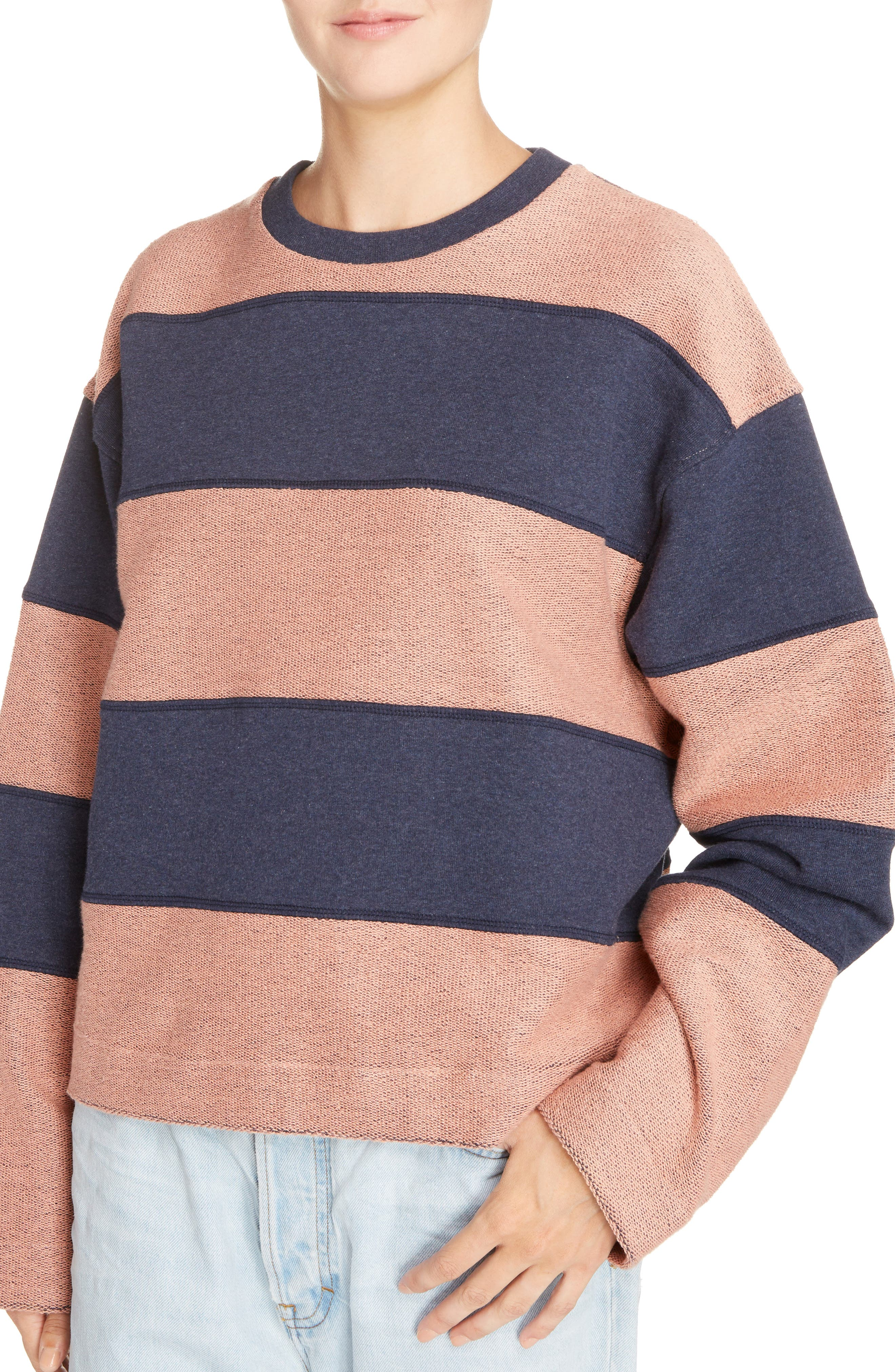 Diana Stripe Sweatshirt,                             Alternate thumbnail 3, color,                             Navy Melange/ Pink
