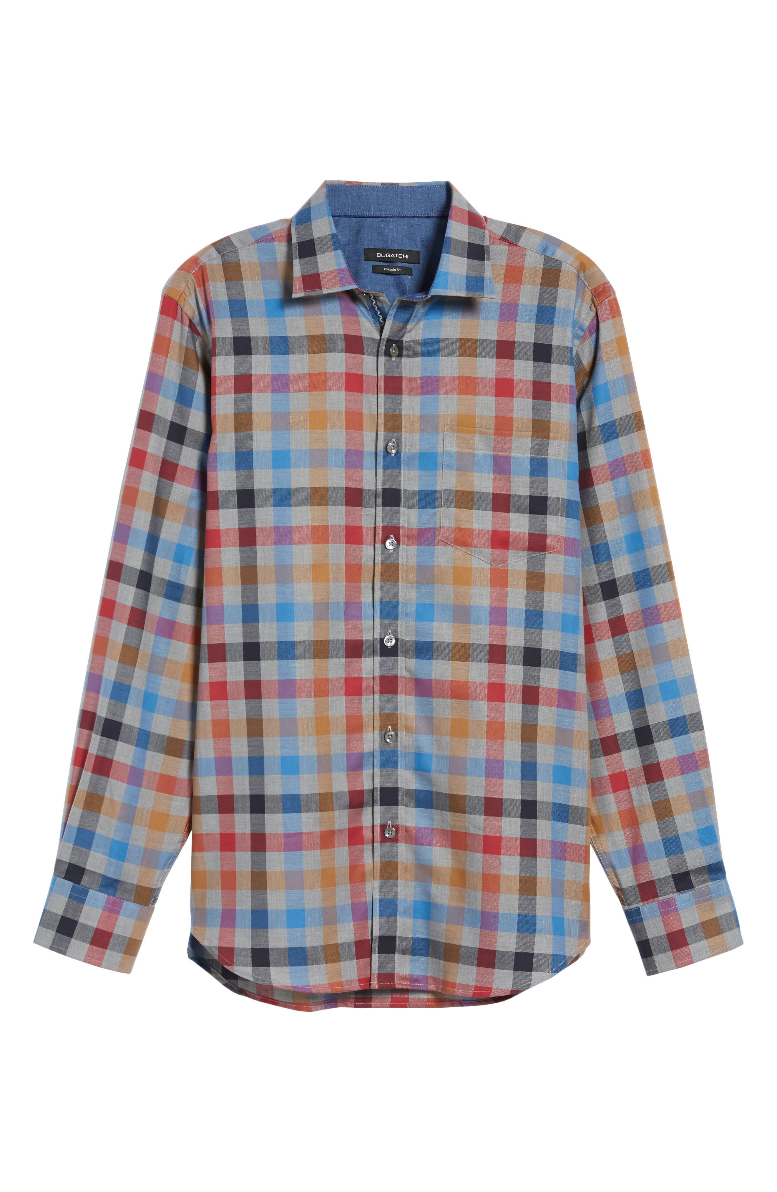 Classic Fit Check Sport Shirt,                             Alternate thumbnail 6, color,                             Graphite