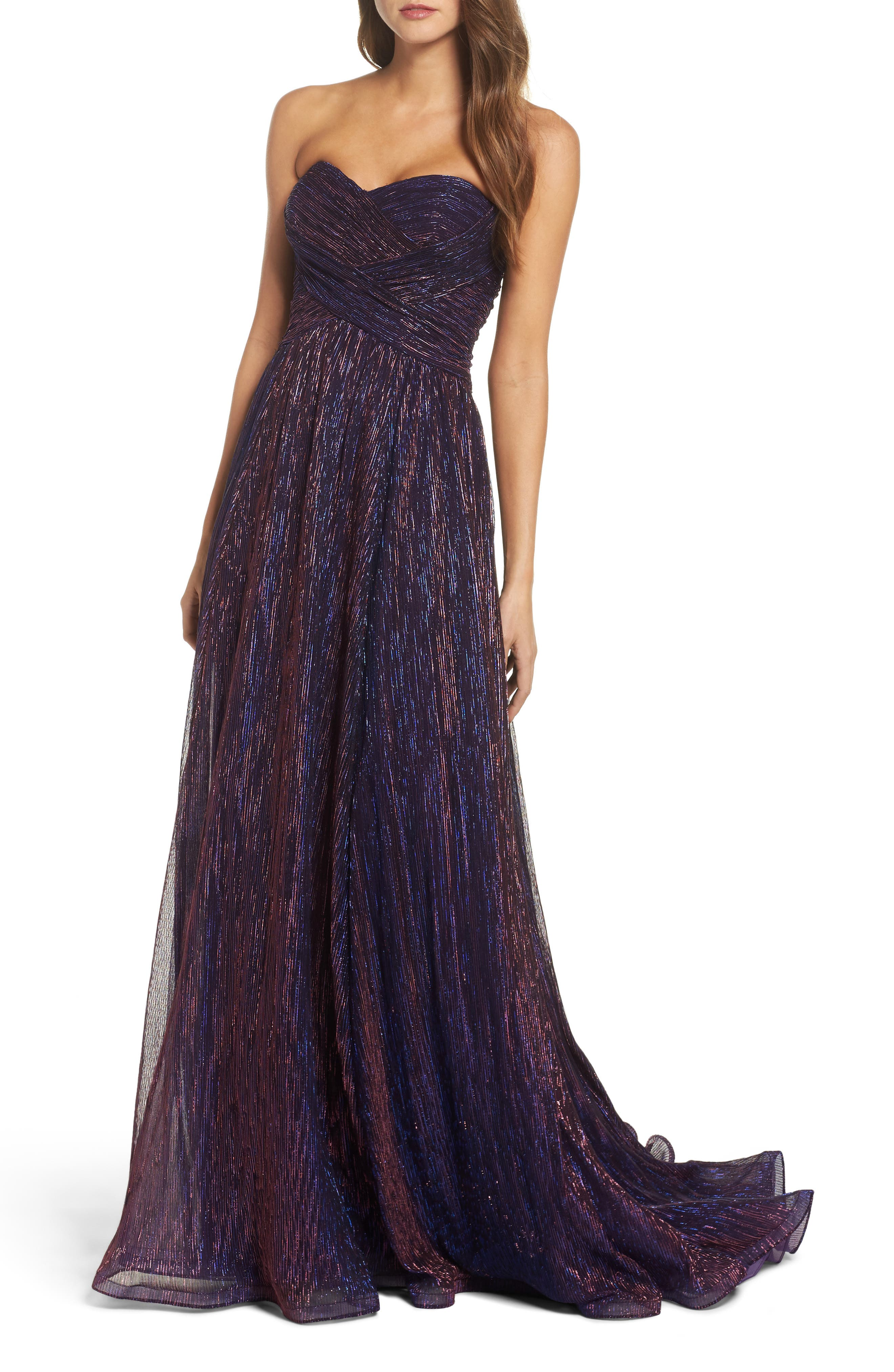 Metallic Strapless A-Line Gown,                             Main thumbnail 1, color,                             Purple/ Multi