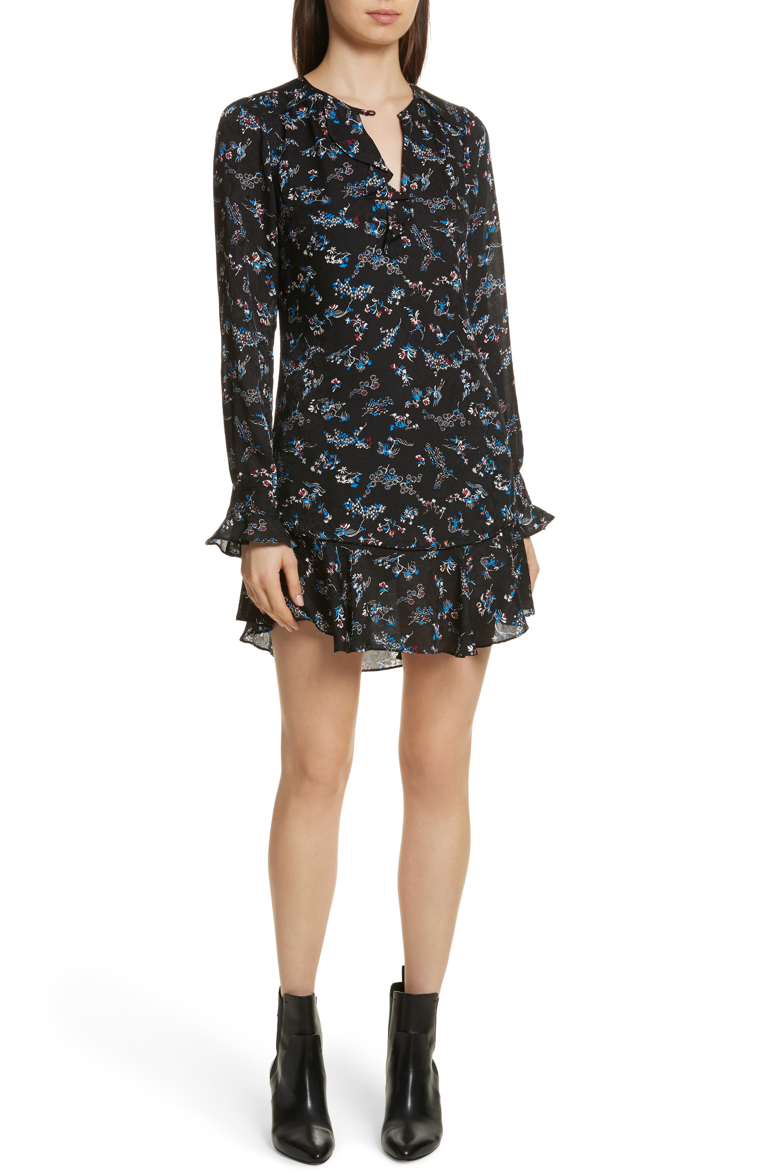 Preston Floral Print Silk Dress,                         Main,                         color, Black