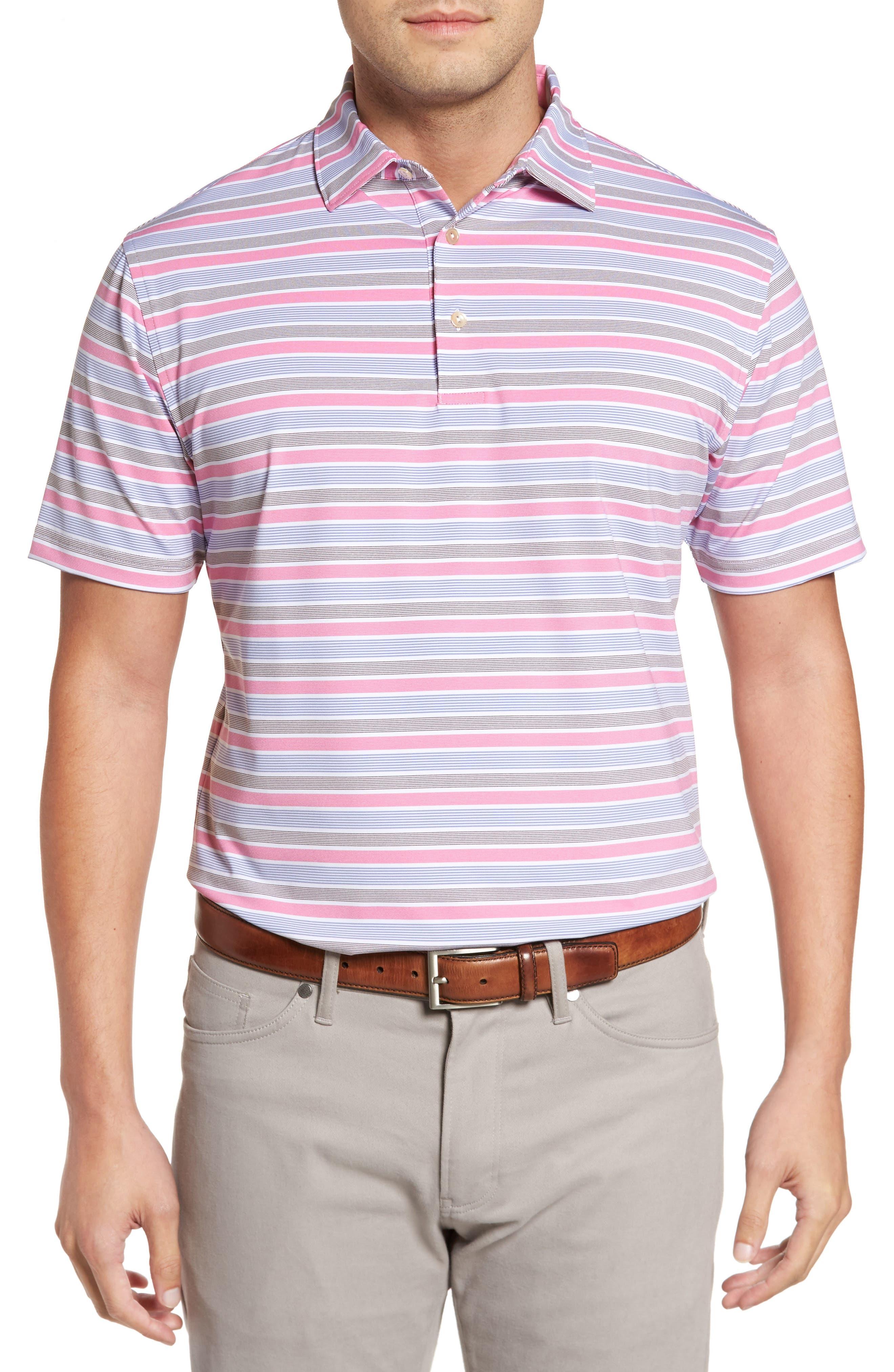 Blount Stripe Stretch Jersey Polo,                         Main,                         color, White/ Thunderbird