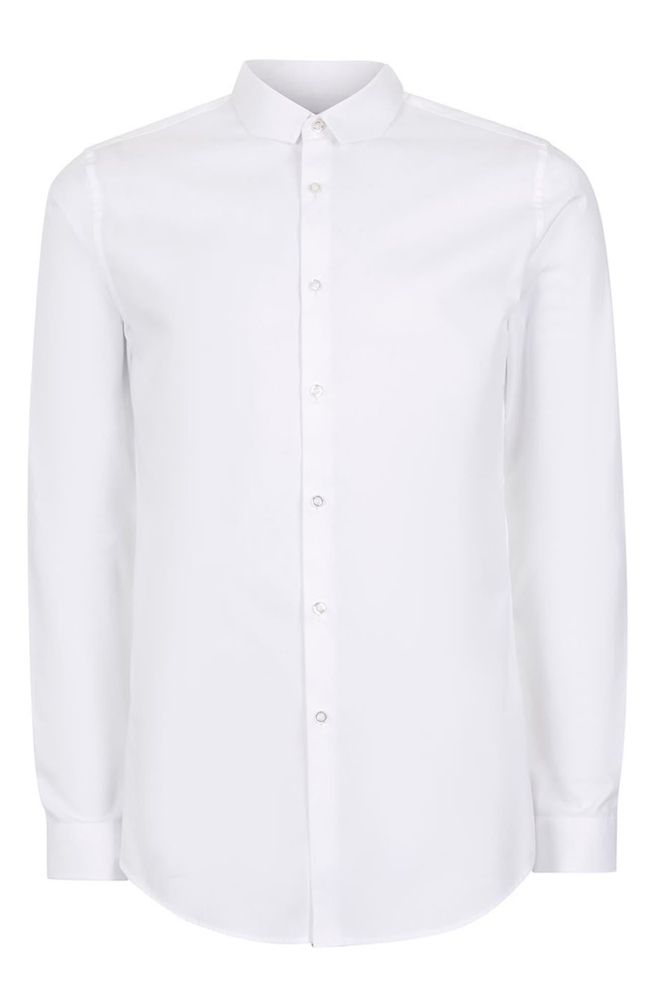Trim Fit Chisel Collar Dress Shirt,                             Alternate thumbnail 6, color,                             White