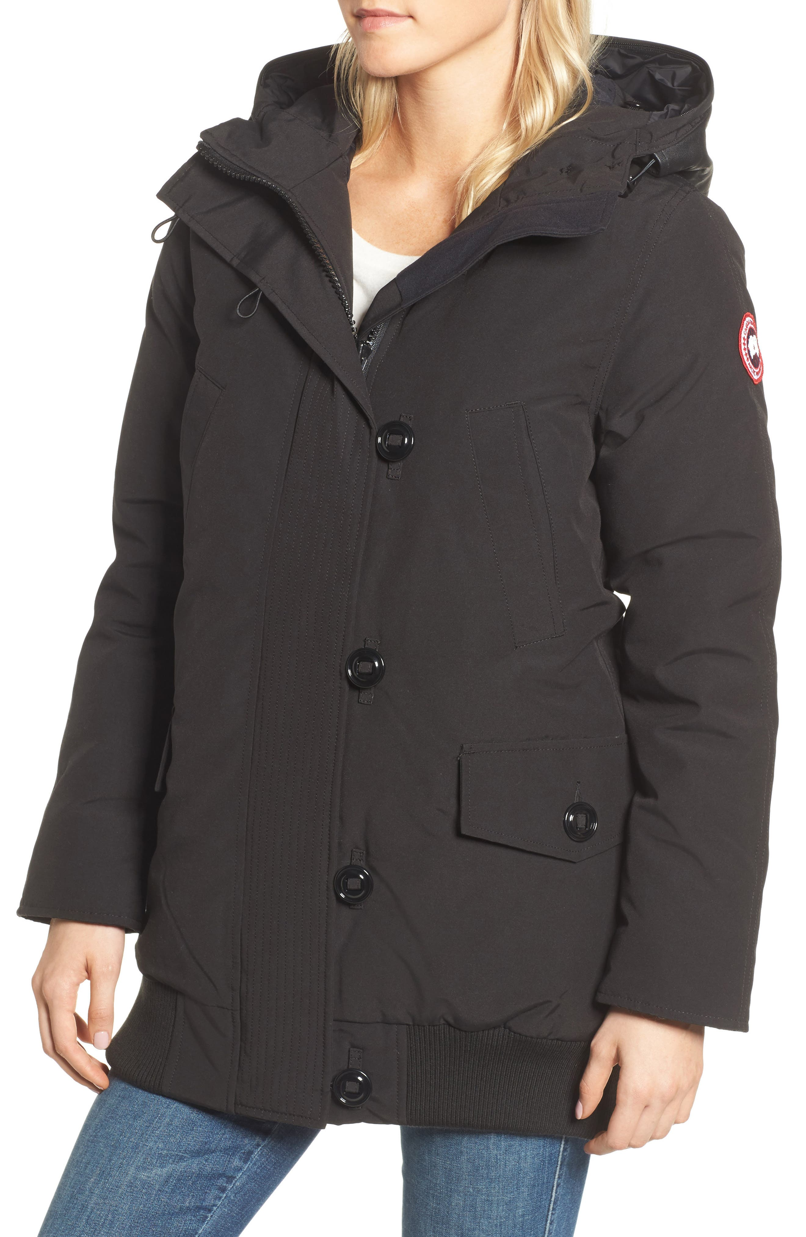 Finnegan 625-Fill Power Down Parka with Genuine Shearling Hood Lining,                             Alternate thumbnail 4, color,                             Black