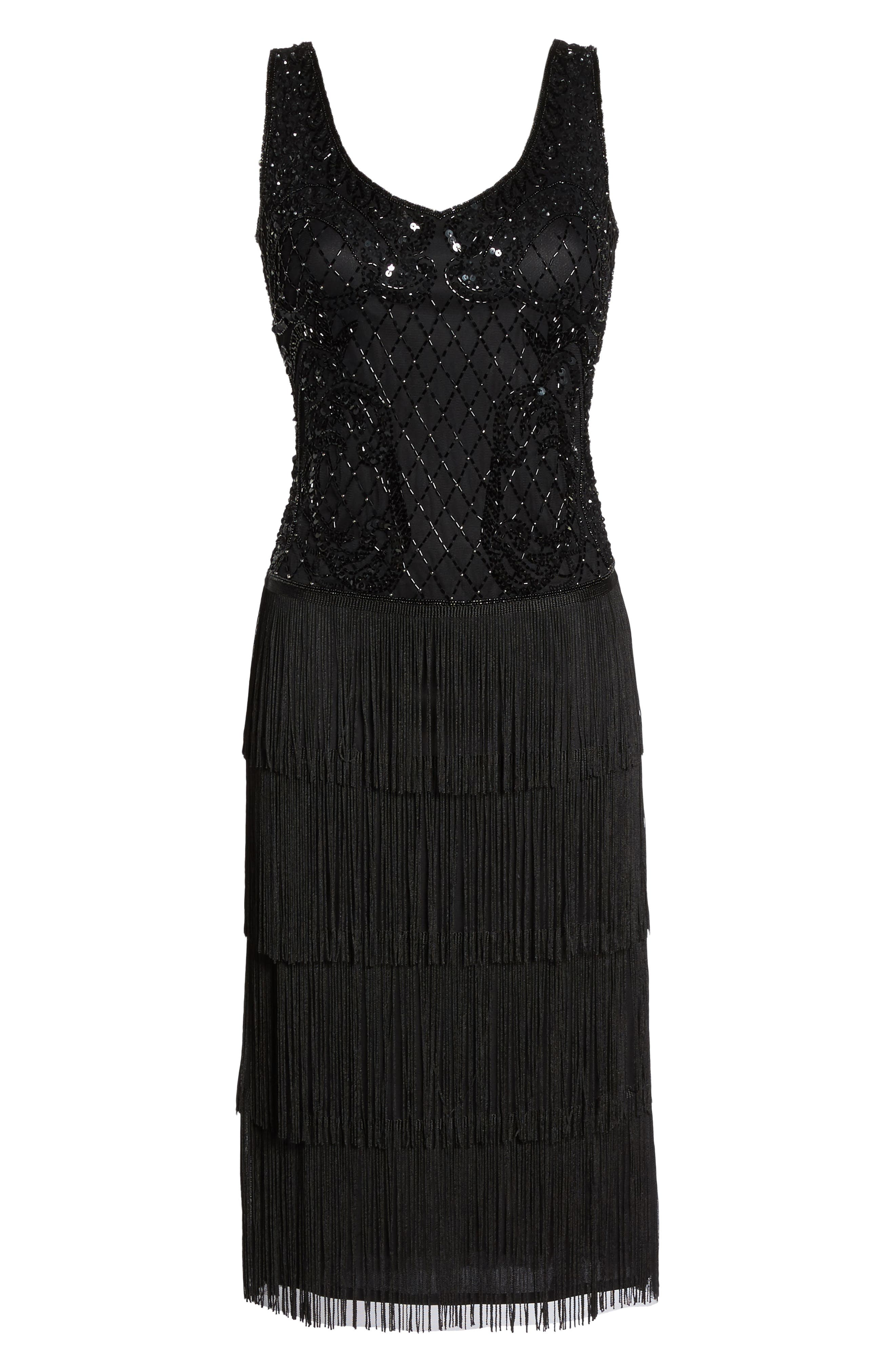 Embellished Fringe Tiered Sheath Dress,                             Alternate thumbnail 6, color,                             Black