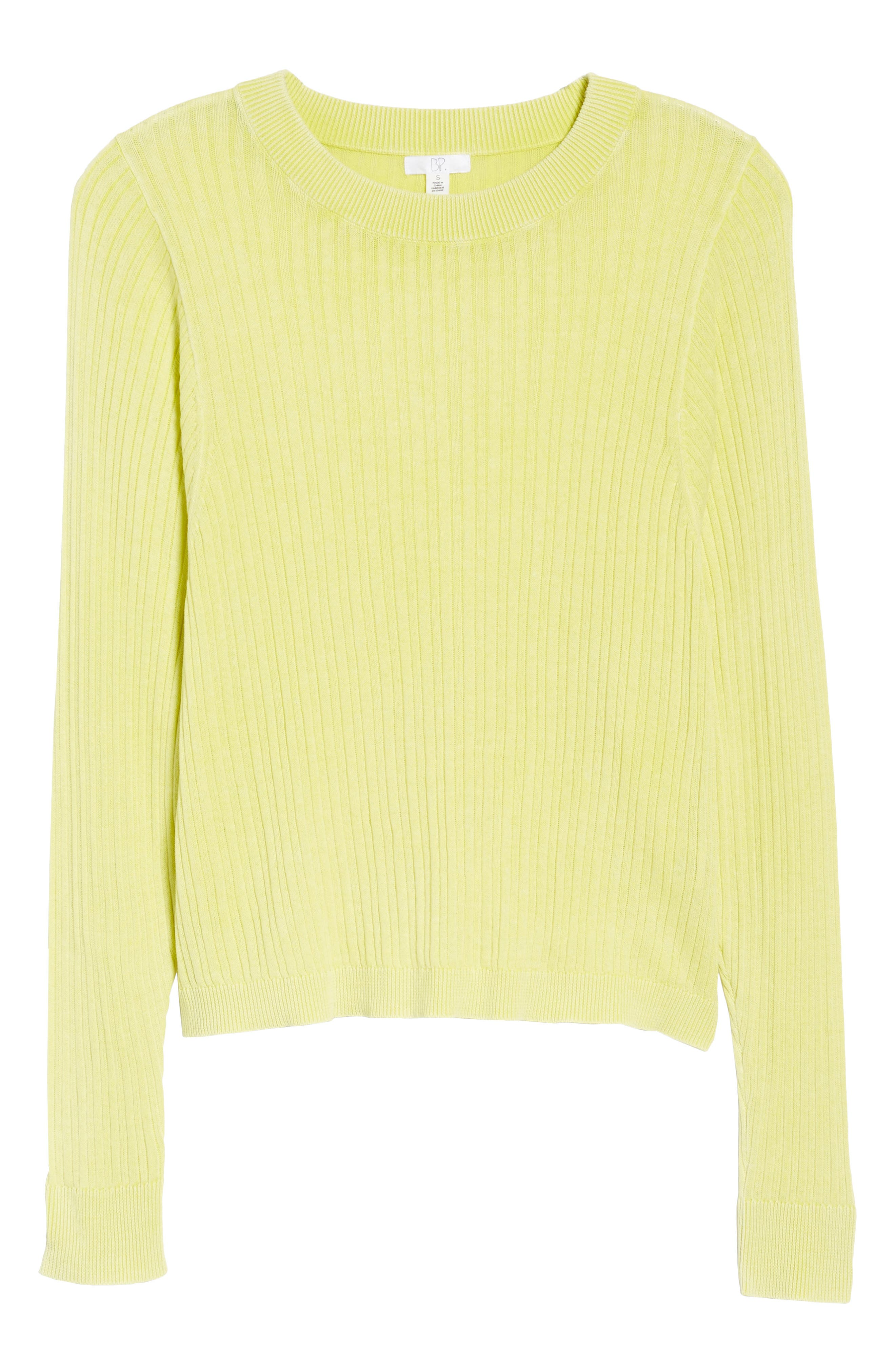 Crewneck Variegated Rib-Knit Sweater,                             Alternate thumbnail 6, color,                             Green Sulphur