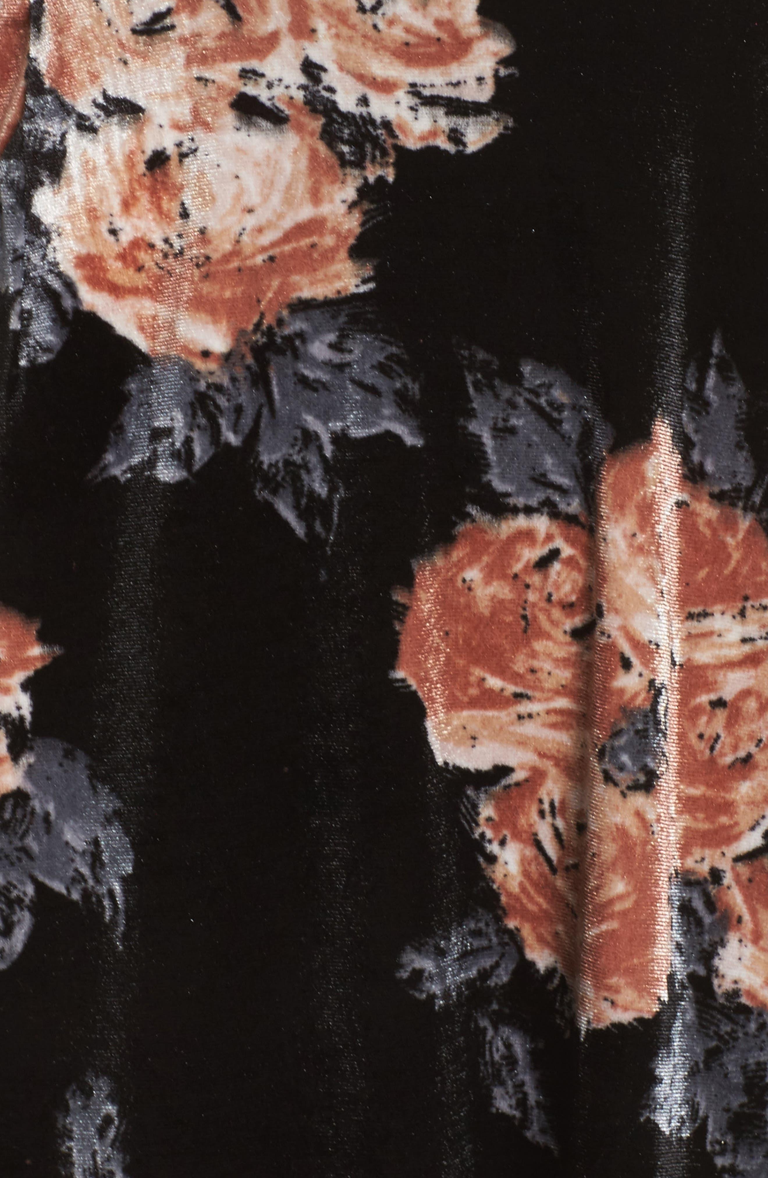 Costes Velvet Fit & Flare Dress,                             Alternate thumbnail 6, color,                             Black Rosettes