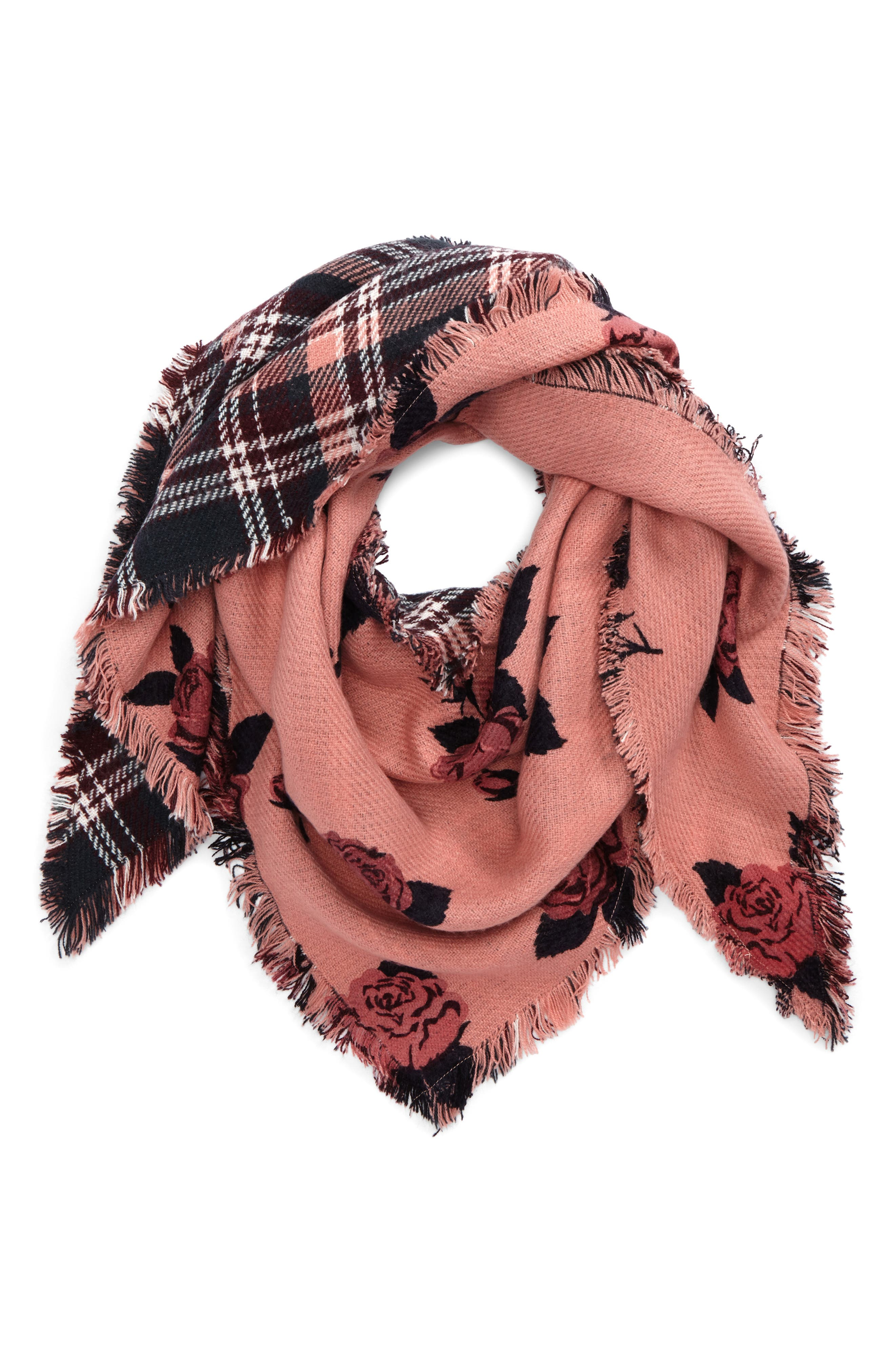 BP. Floral & Plaid Triangle Scarf