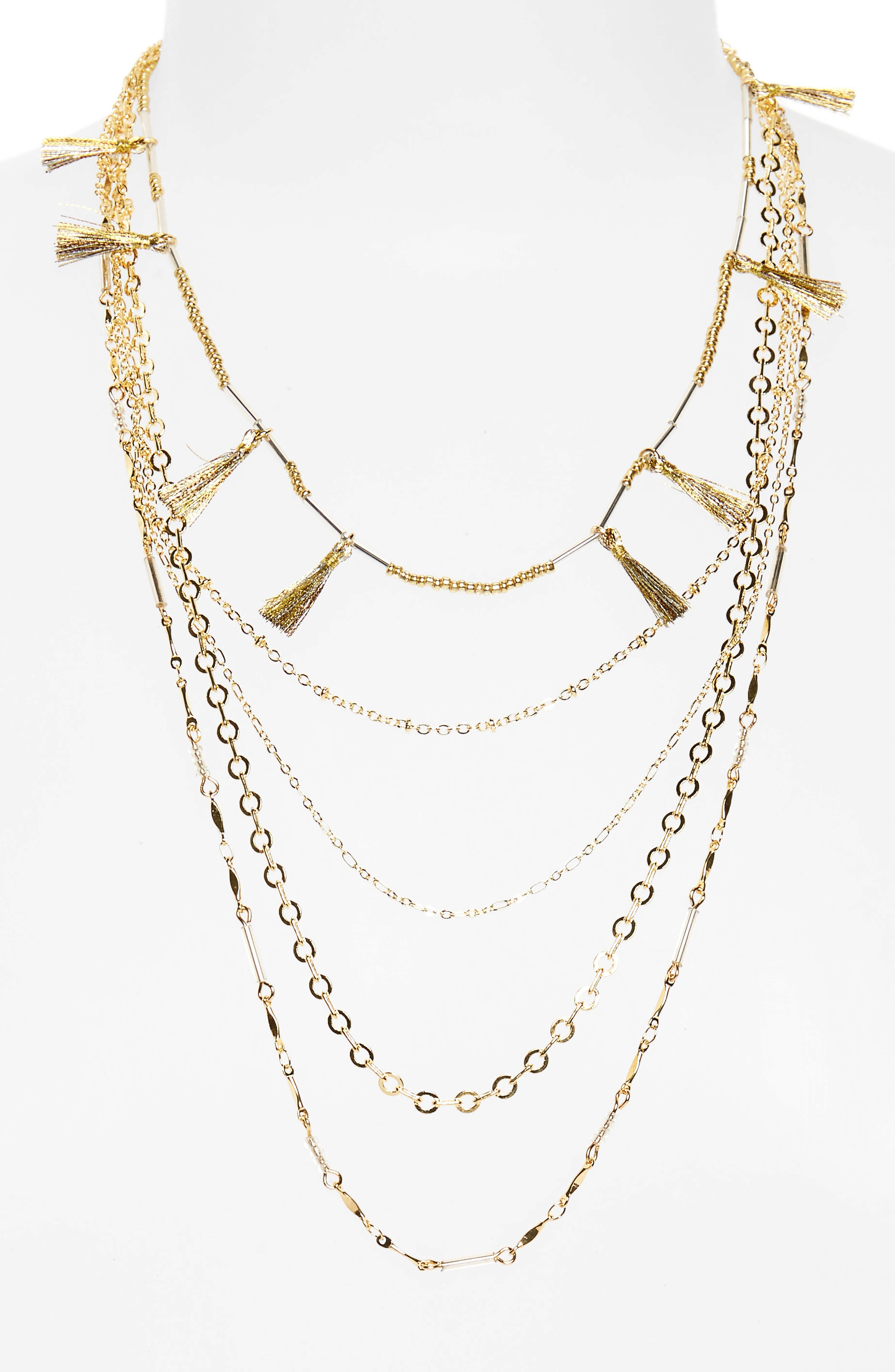 Alternate Image 1 Selected - Rebecca Minkoff Long Layered Necklace with Metallic Tassels