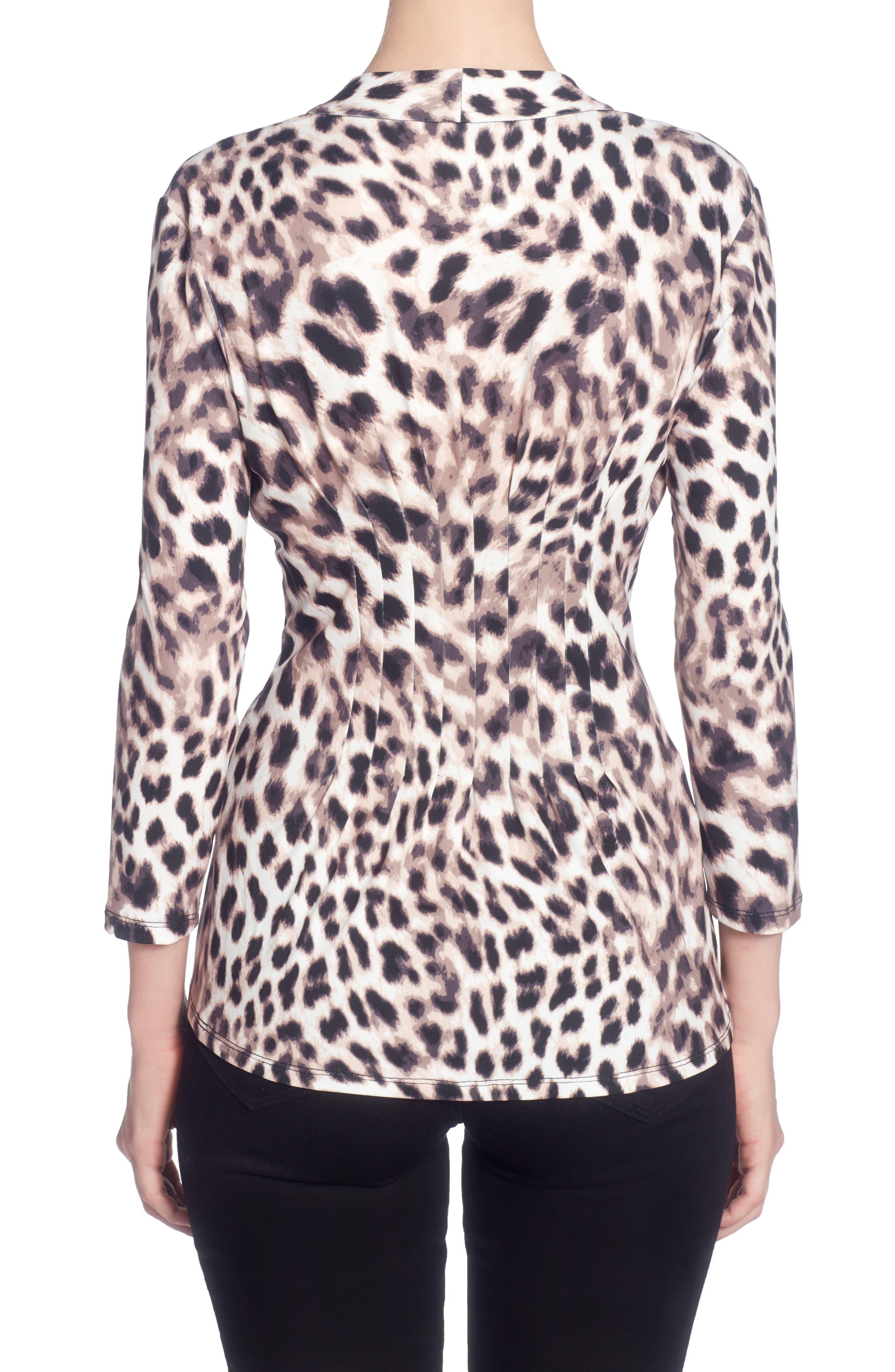 Rea Print Pleat V-Neck Top,                             Alternate thumbnail 2, color,                             Snow Leopard