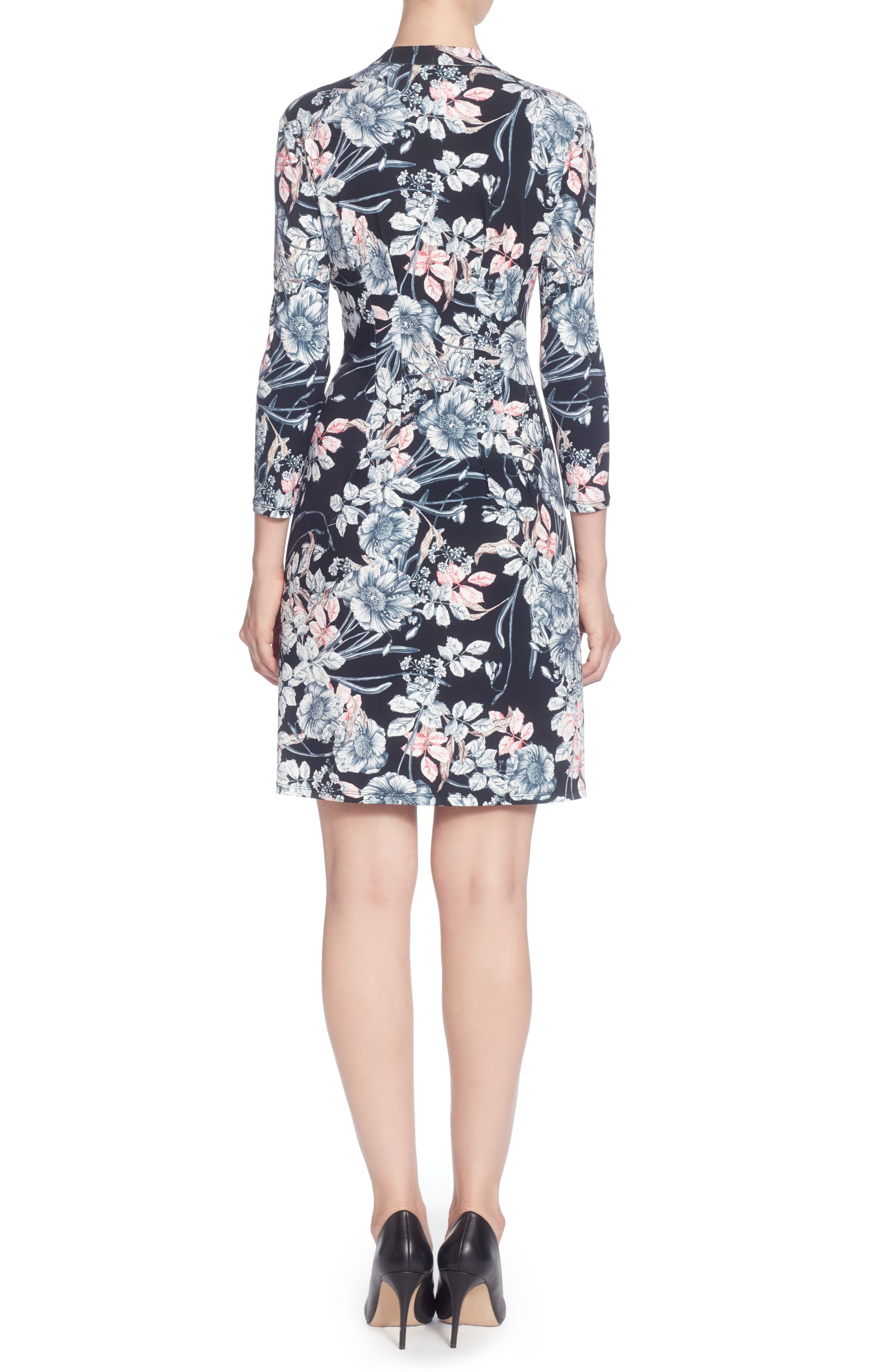 Tinka Print Jersey V-Neck Fit & Flare Dress,                             Alternate thumbnail 2, color,                             French Floral Black