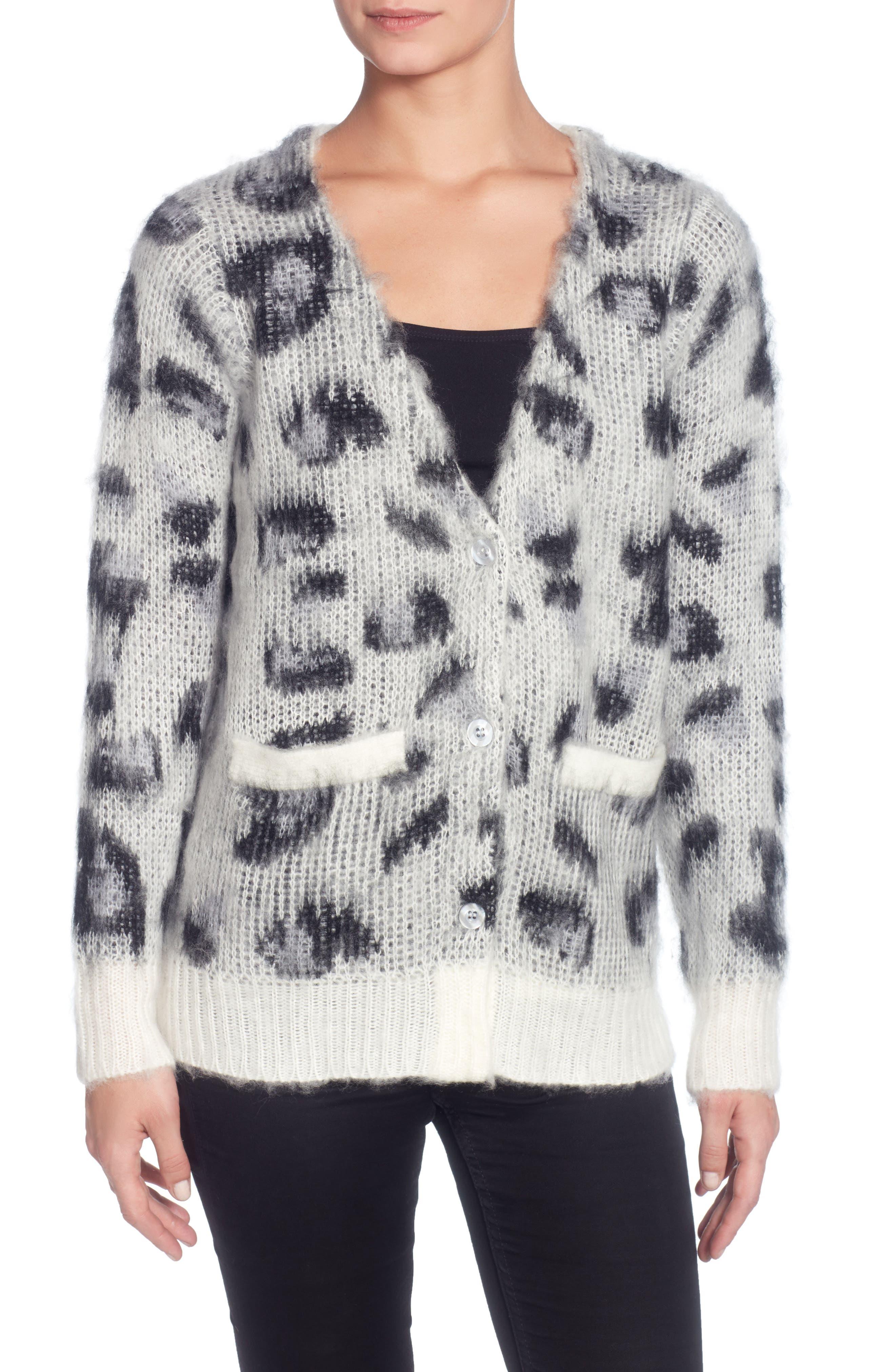 Leopard Cardigan,                         Main,                         color, Black/ Grey/ White