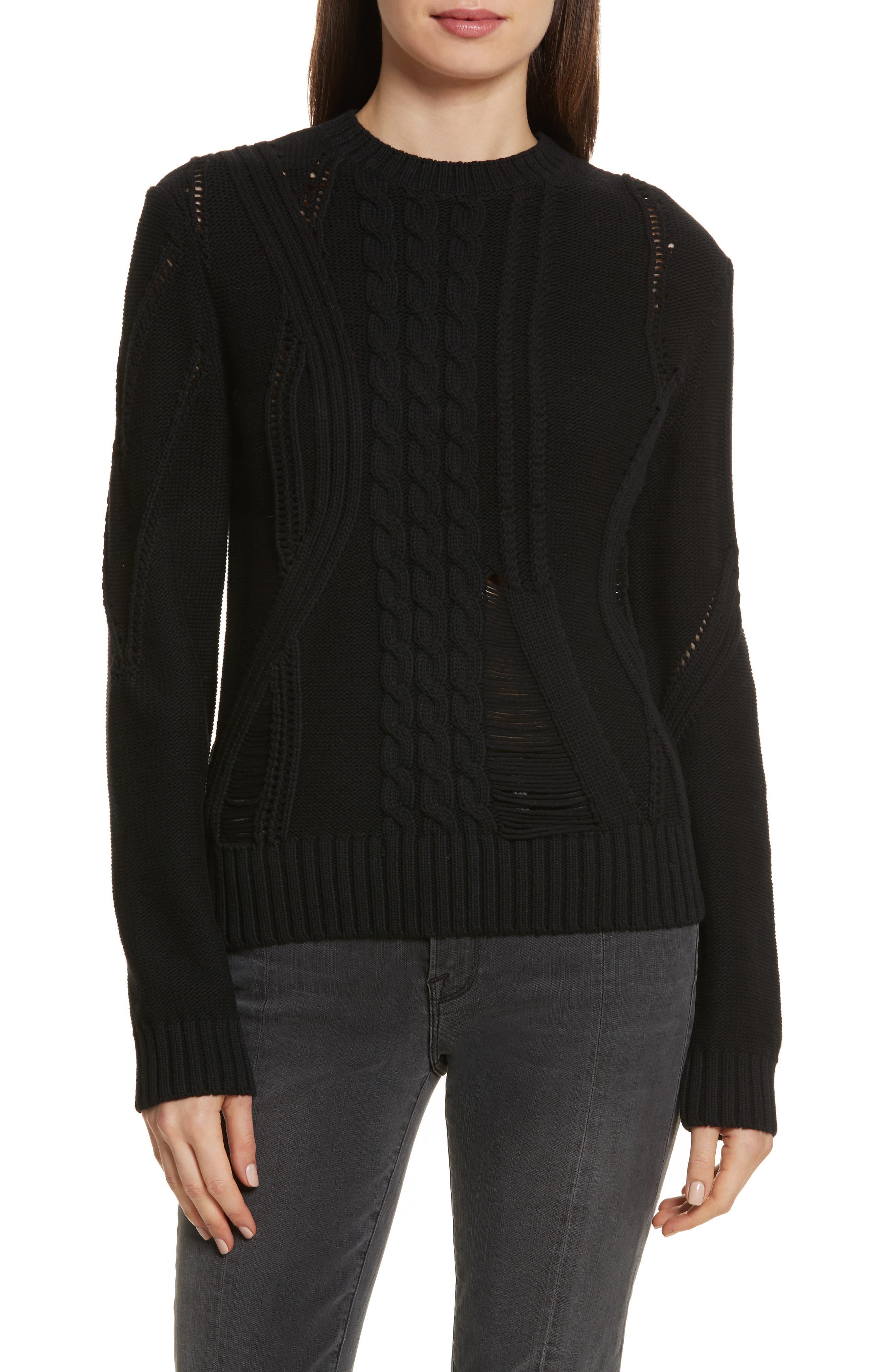 Cable Knit Cotton Blend Sweater,                         Main,                         color, Noir