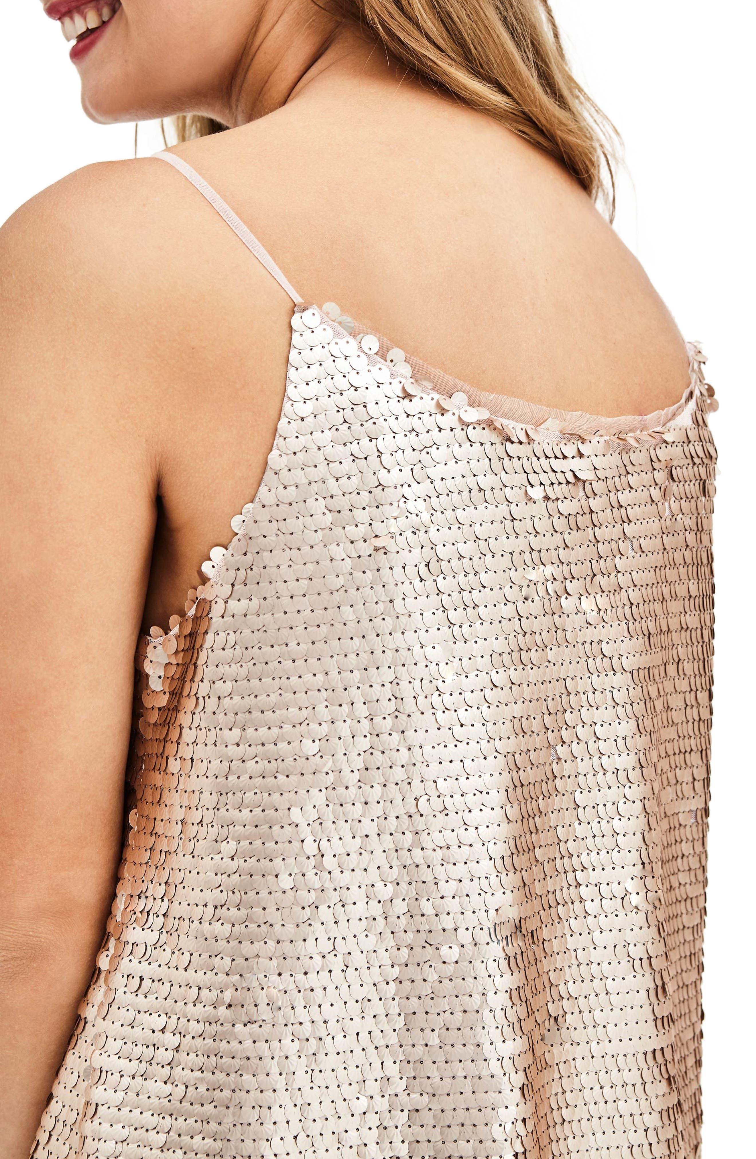 Alternate Image 2  - ELVI Nude Sequin Slipdress (Plus Size)