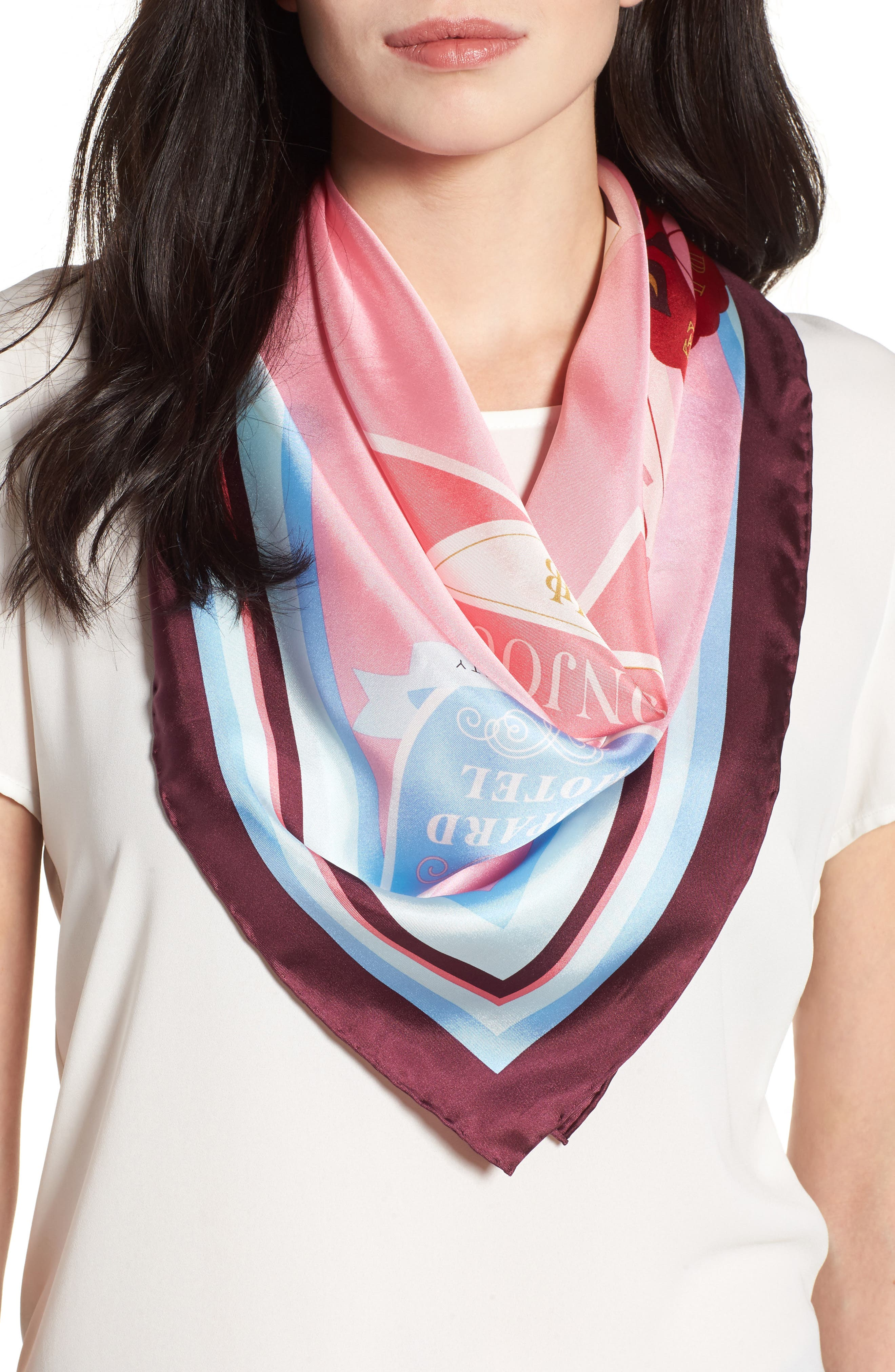 travel stickers silk square scarf,                         Main,                         color, Parisian Pink