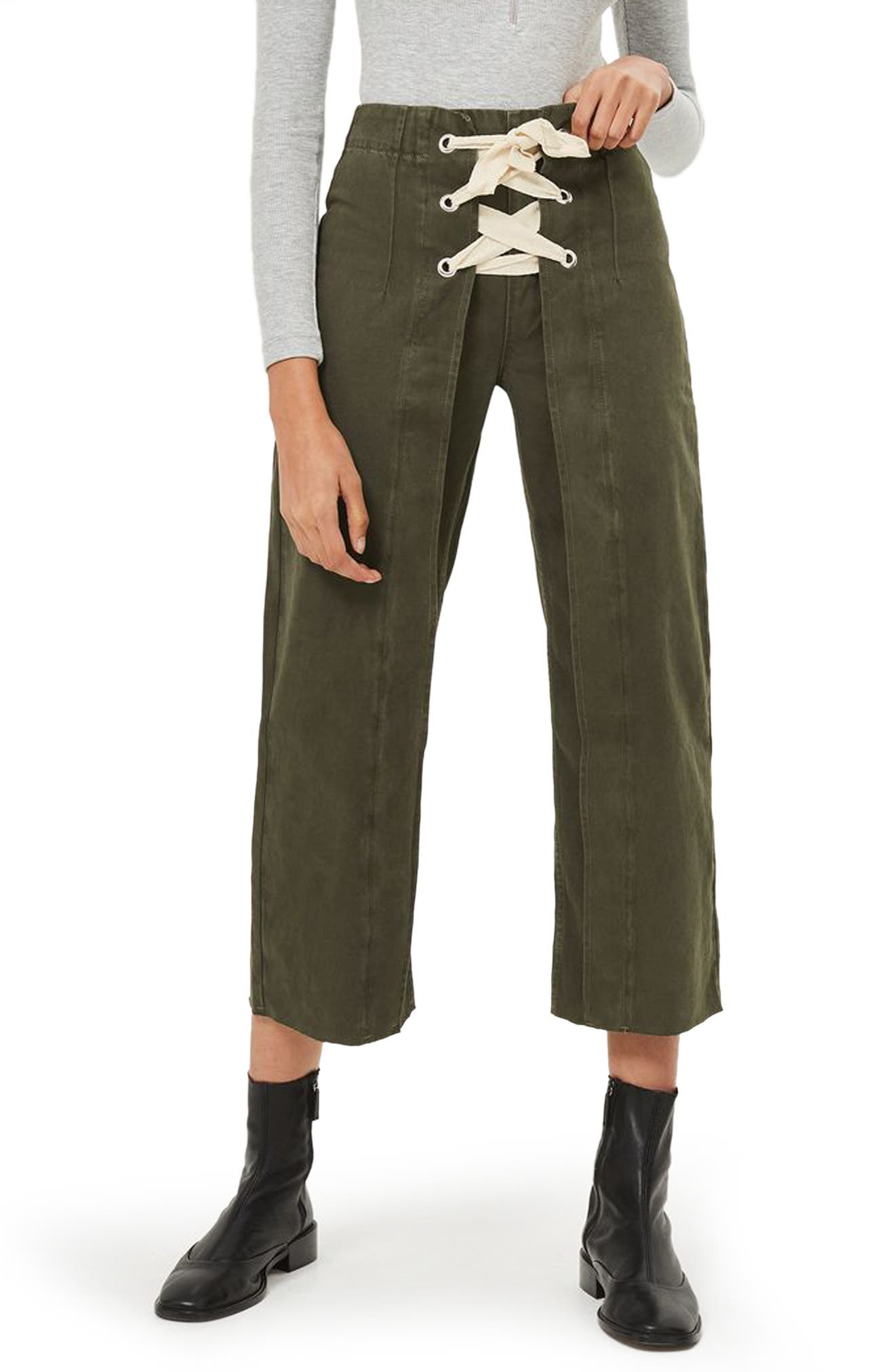 Topshop Khaki Lace-Up Wide Crop Jeans