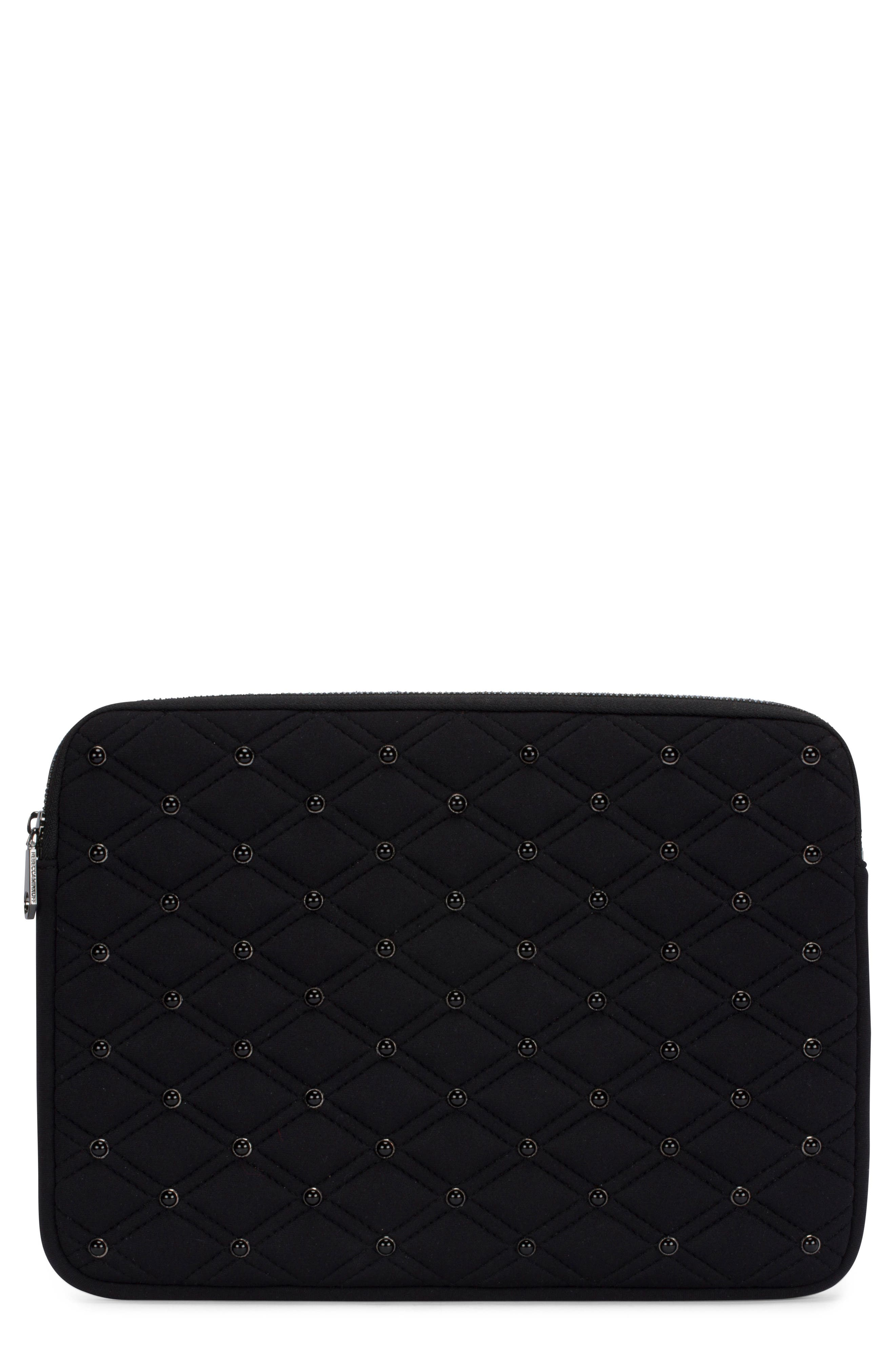 Quilted Stud Laptop Case,                             Main thumbnail 1, color,                             Black/ Black Pearl Studs