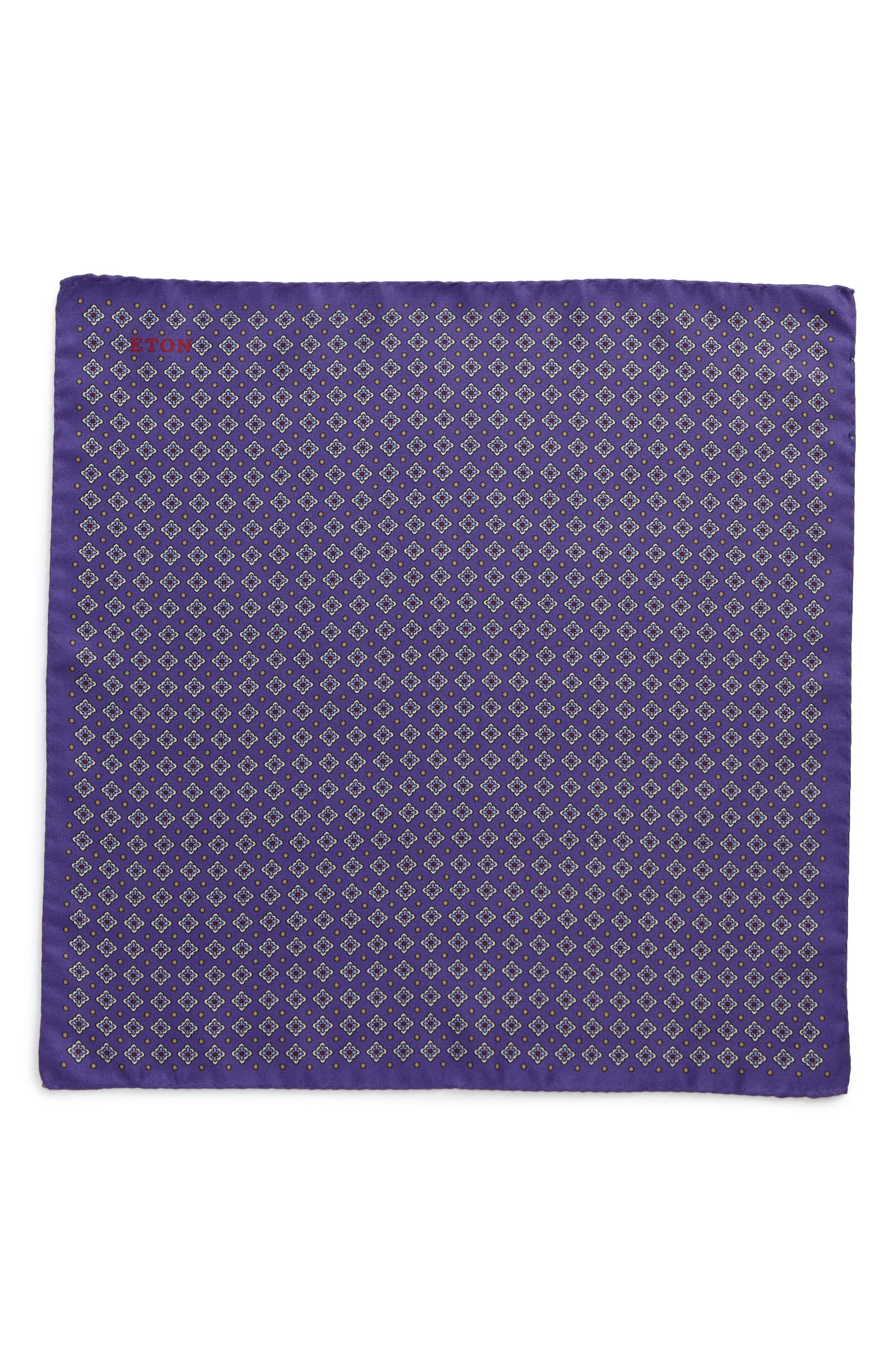 Medallion Silk Pocket Square,                             Alternate thumbnail 2, color,                             Purple