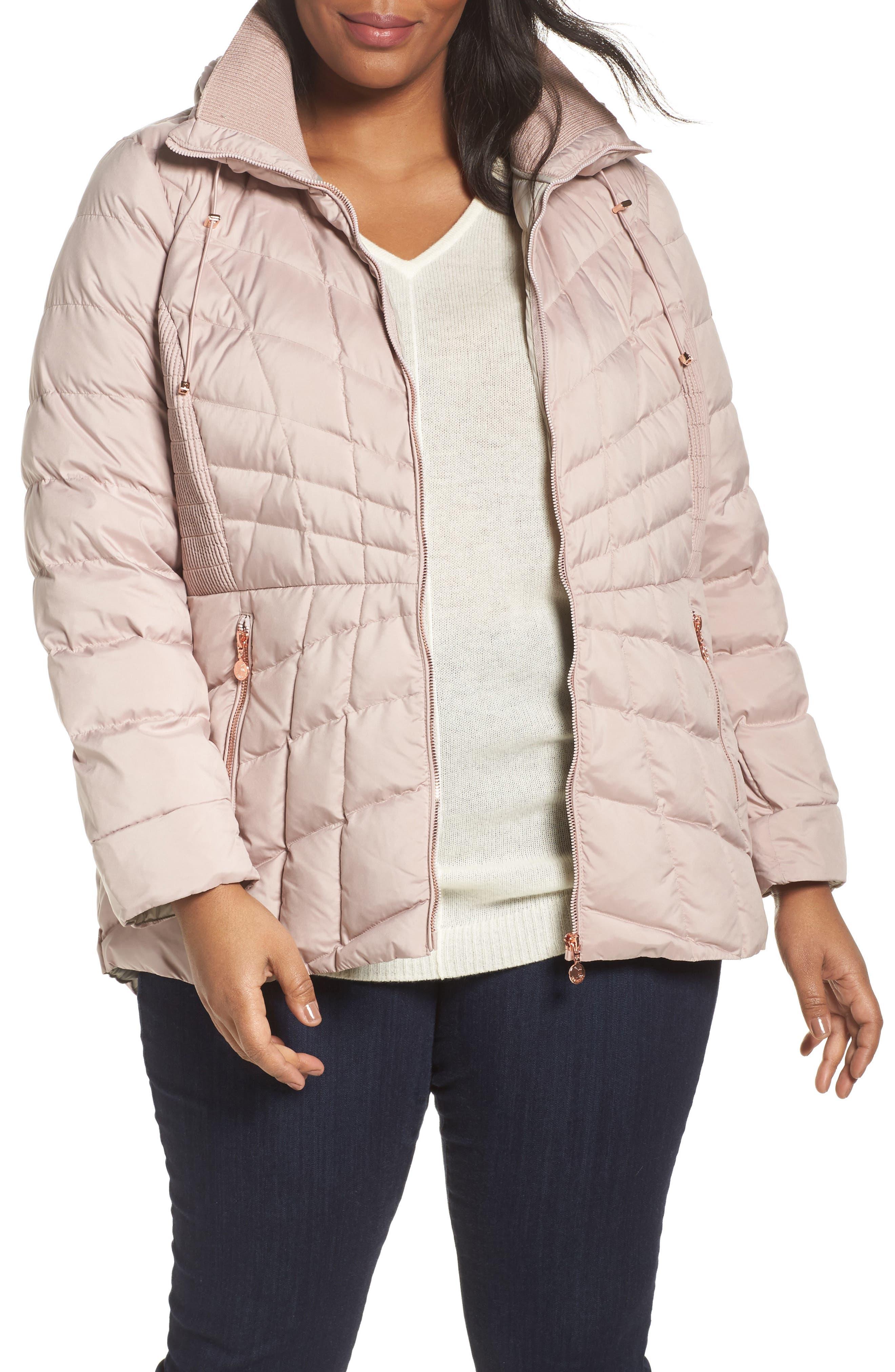 Packable Water Resistant Down & PrimaLoft<sup>®</sup> Coat,                         Main,                         color, Petal Pink/ Snow Leopard