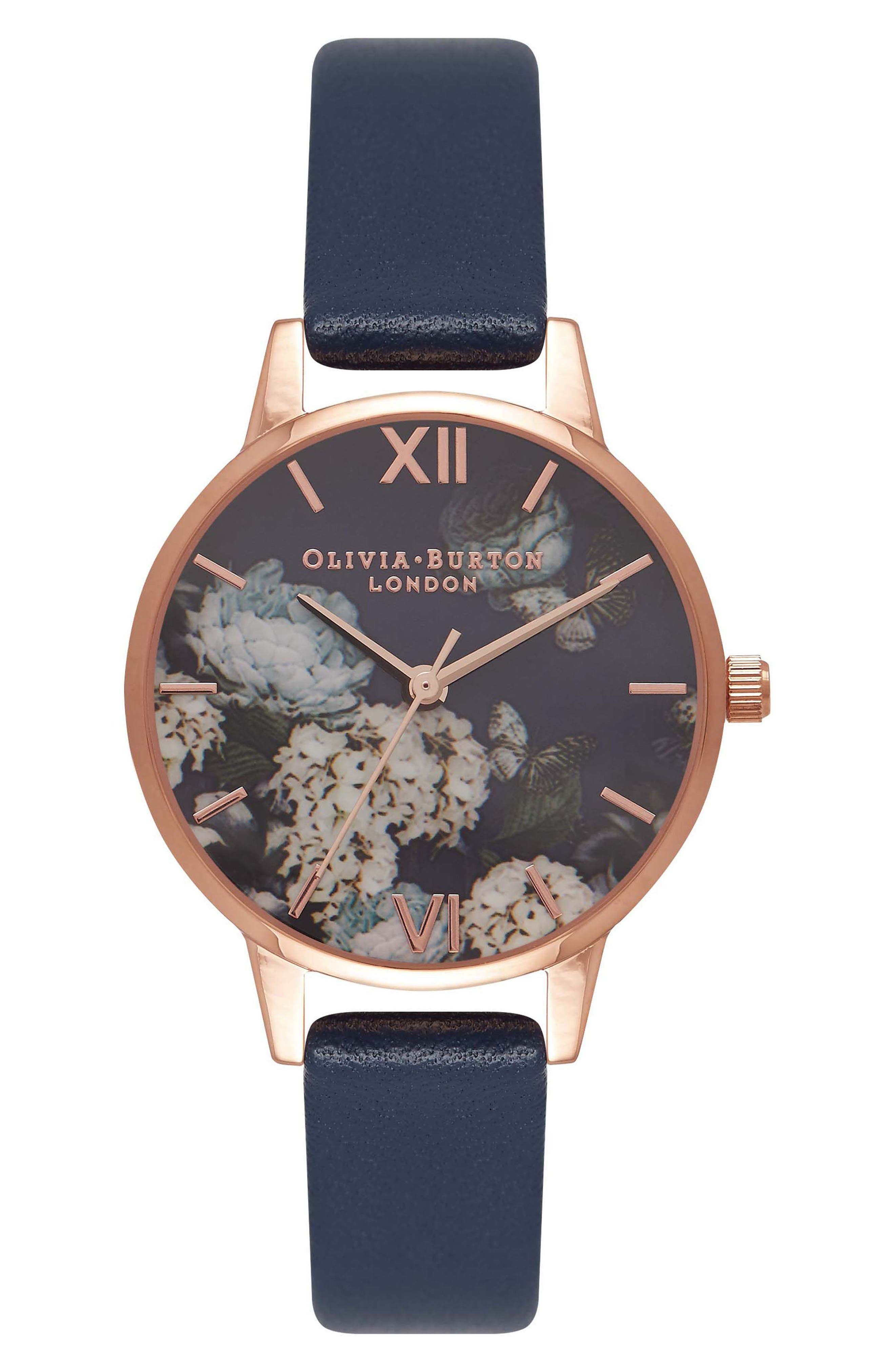 Signature Florals Leather Strap Watch, 30mm,                             Main thumbnail 1, color,                             Navy/ Floral/ Rose Gold