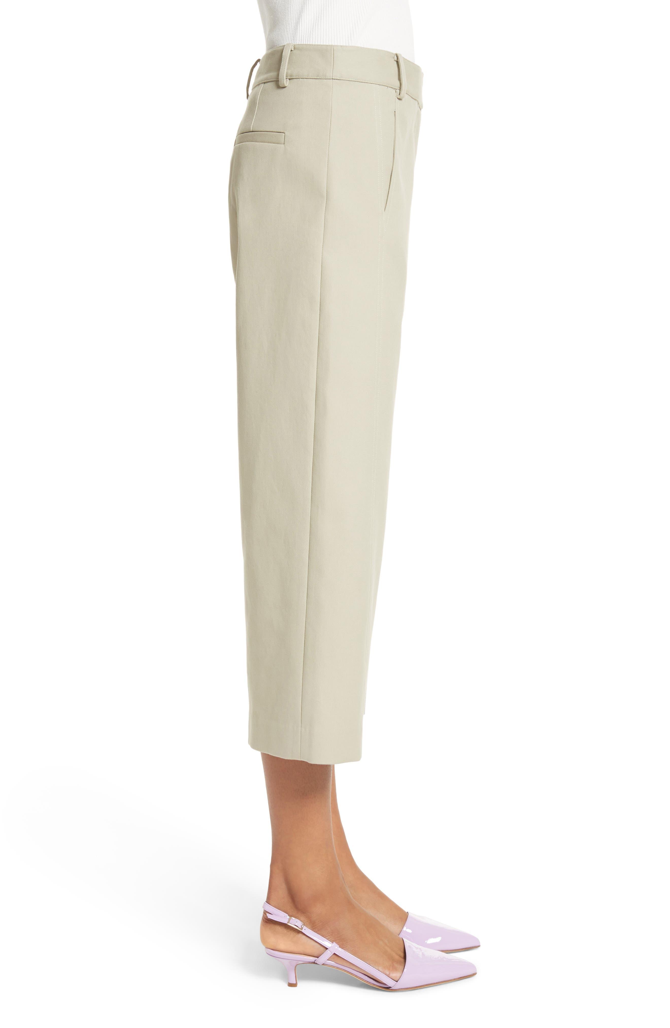 Cropped Cotton Pants,                             Alternate thumbnail 3, color,                             Moss