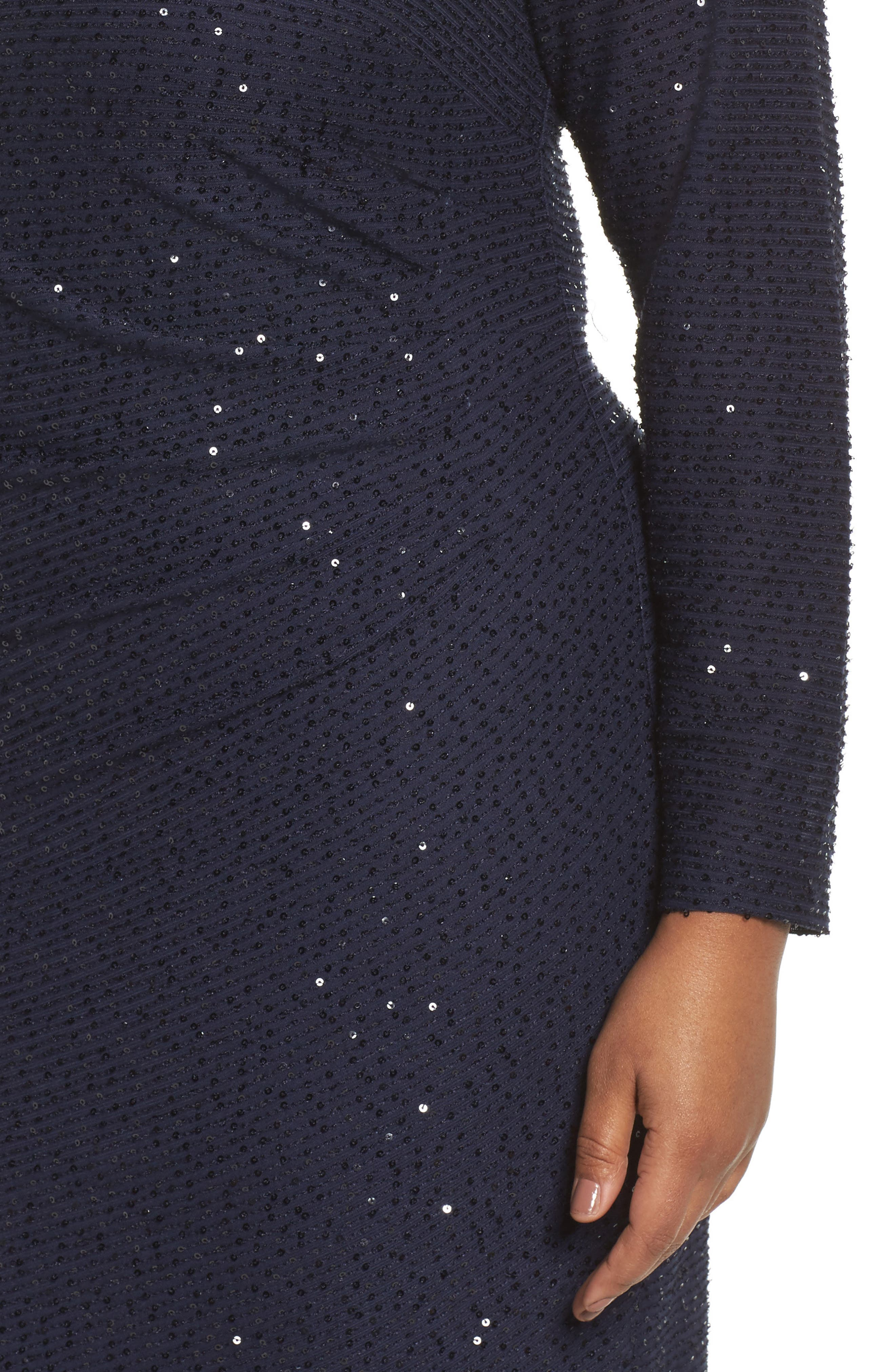 Sequin Knit Long Sleeve Dress,                             Alternate thumbnail 4, color,                             Navy
