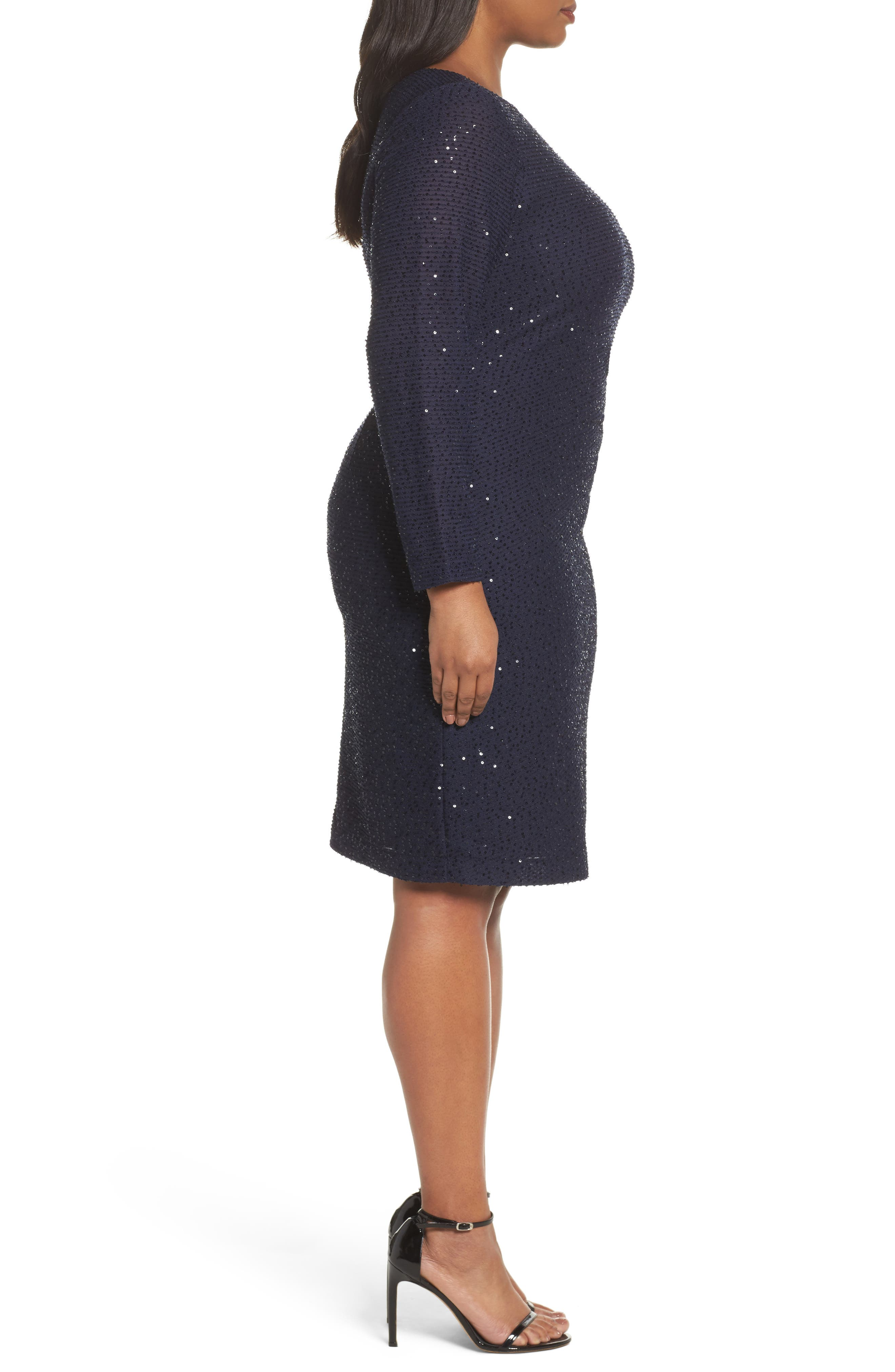 Sequin Knit Long Sleeve Dress,                             Alternate thumbnail 3, color,                             Navy