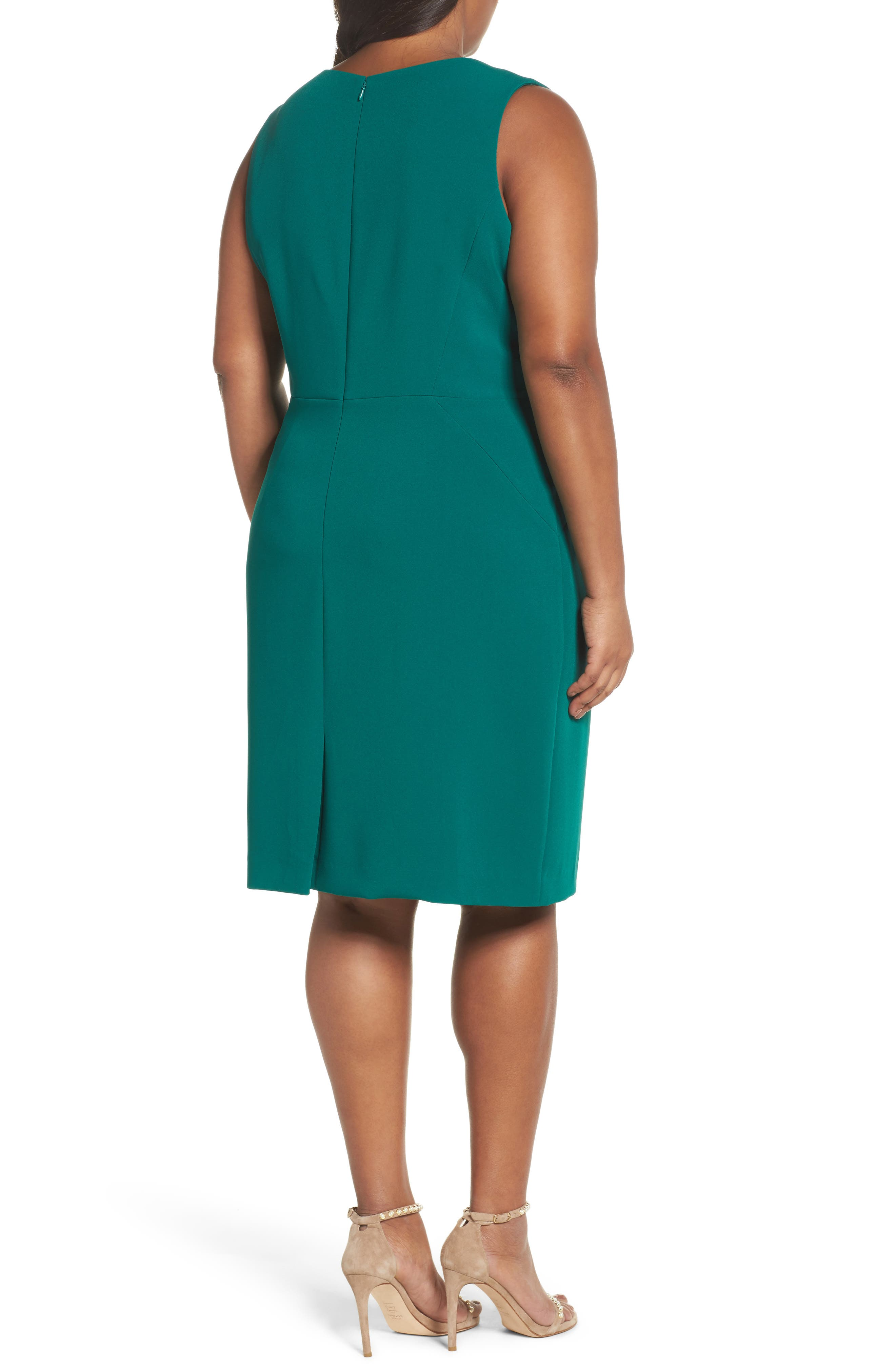 Envelope Neck with Button Sheath Dress,                             Alternate thumbnail 2, color,                             Emerald