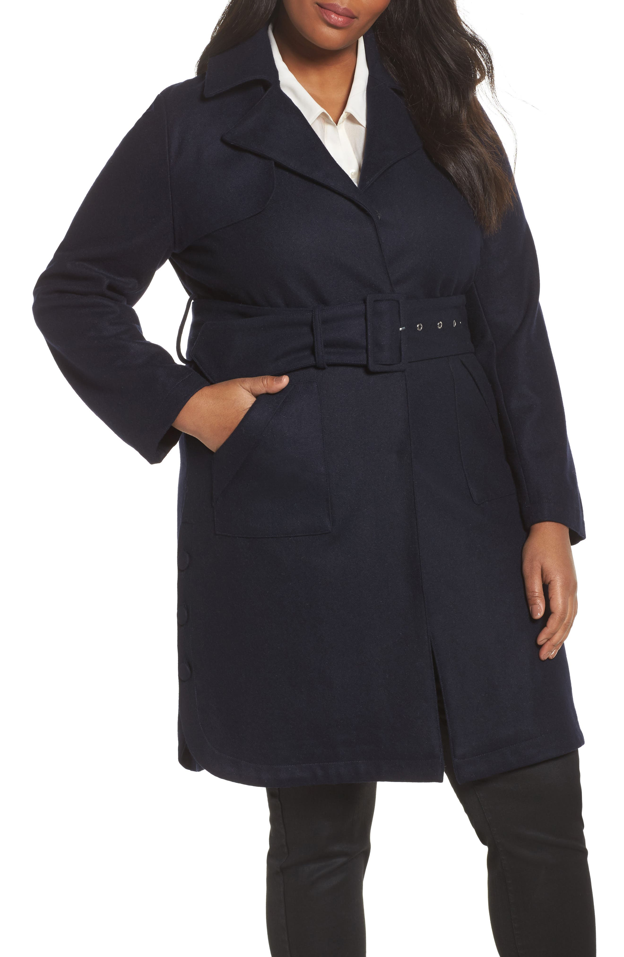Main Image - Lost Ink Wool Blend Trench Coat (Plus Size)