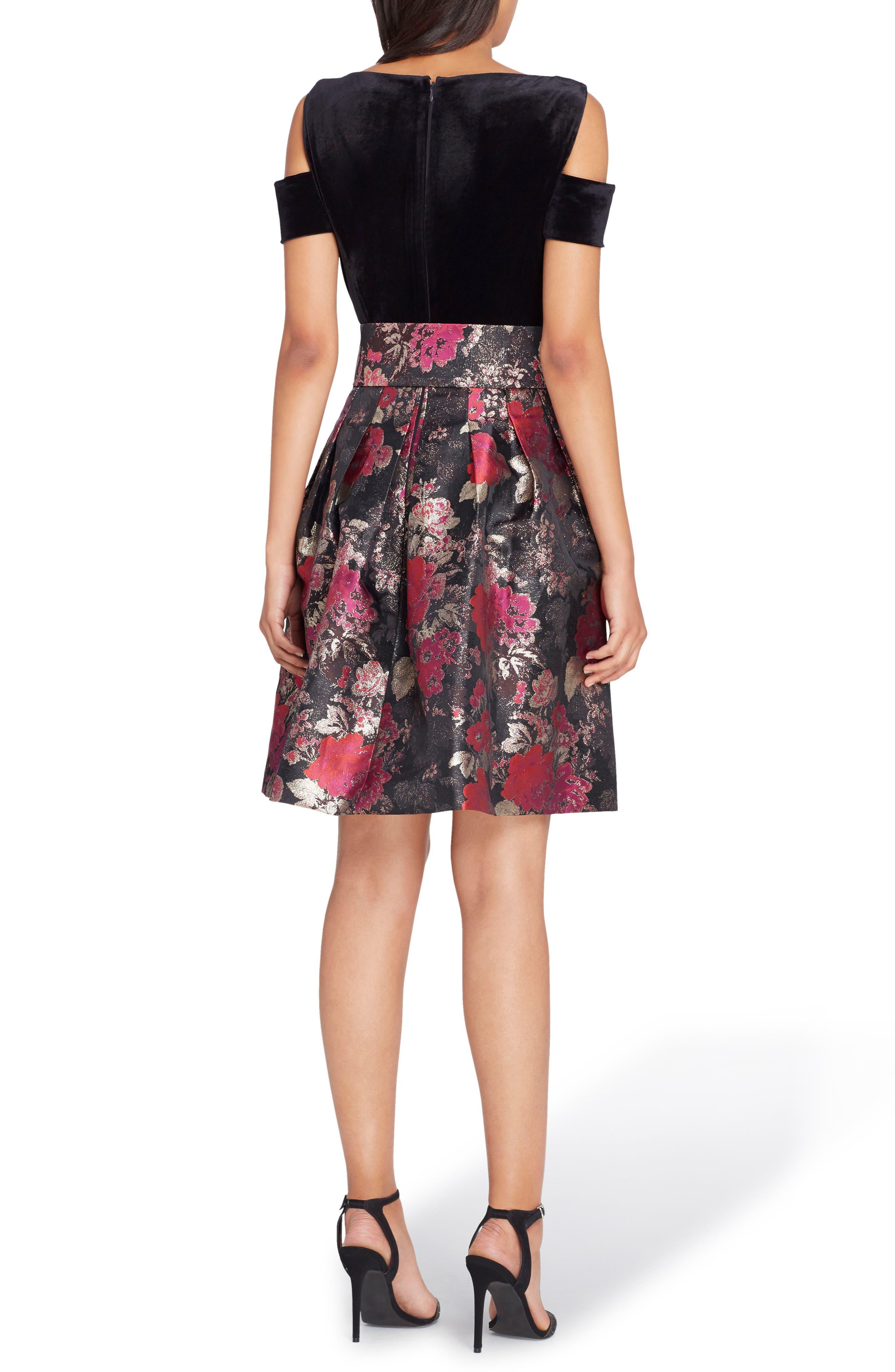 Cold Shoulder Fit & Flare Dress,                             Alternate thumbnail 2, color,                             Black/ Red/ Gold