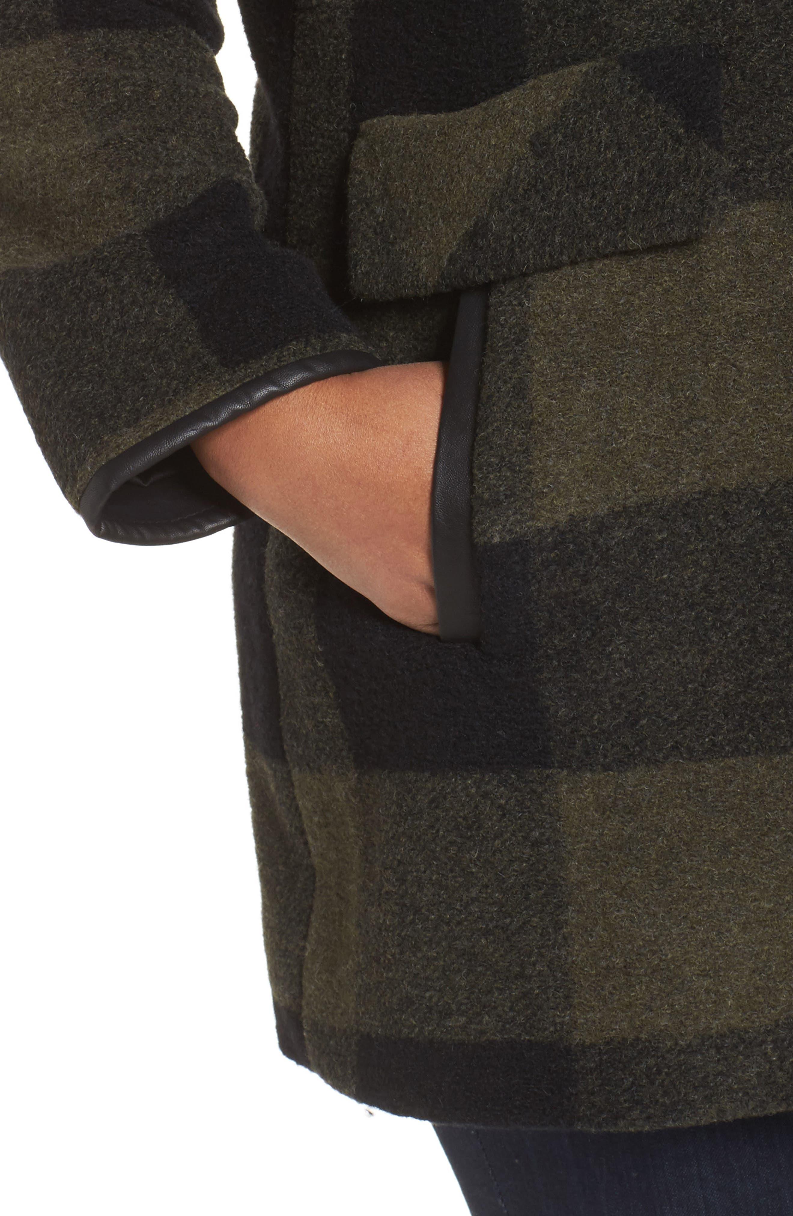 Paul Bunyan Plaid Wool Blend Barn Coat,                             Alternate thumbnail 4, color,                             Olive/ Buff