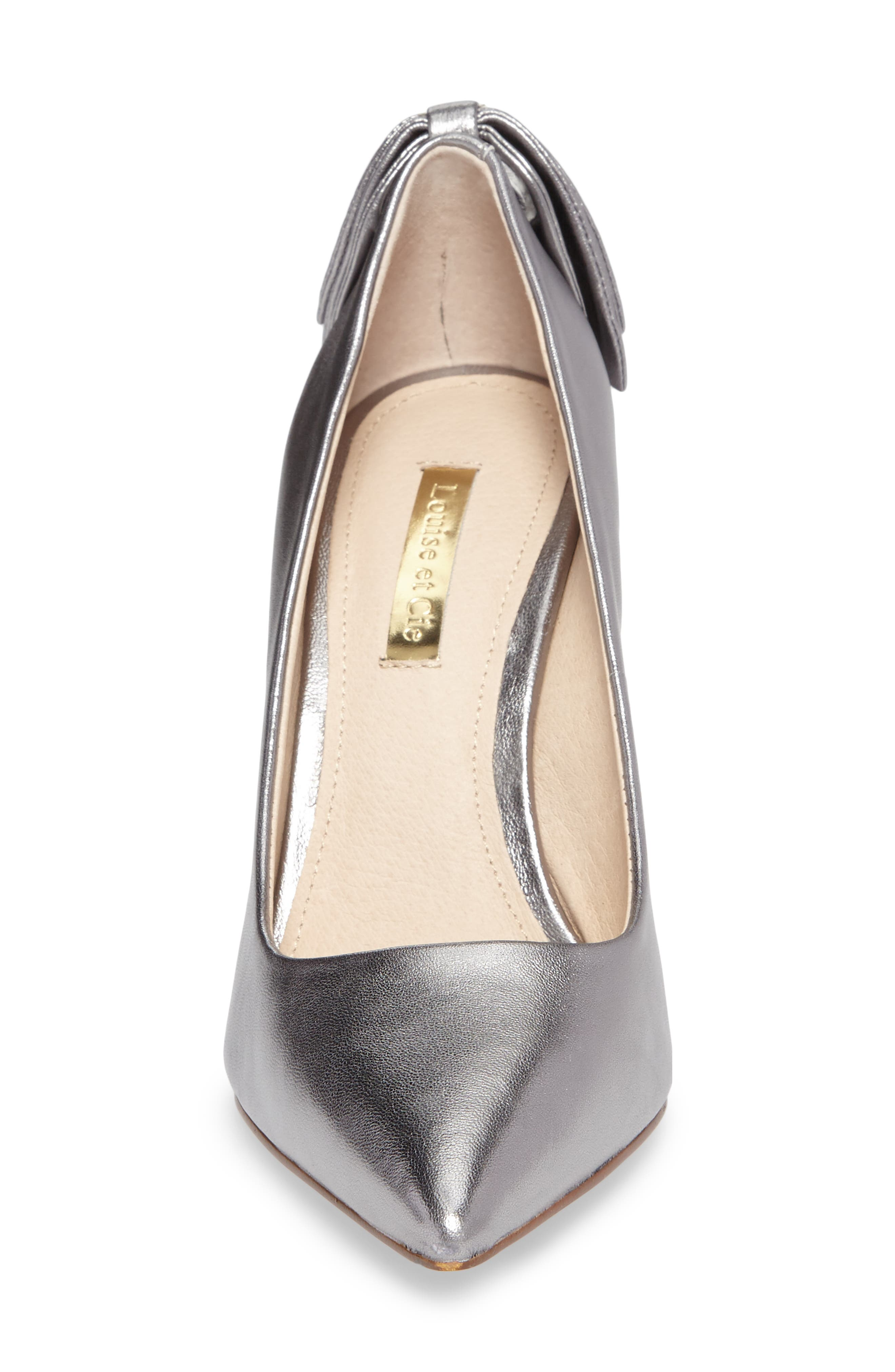 Josely Pointy Toe Pump,                             Alternate thumbnail 4, color,                             Chrome Leather