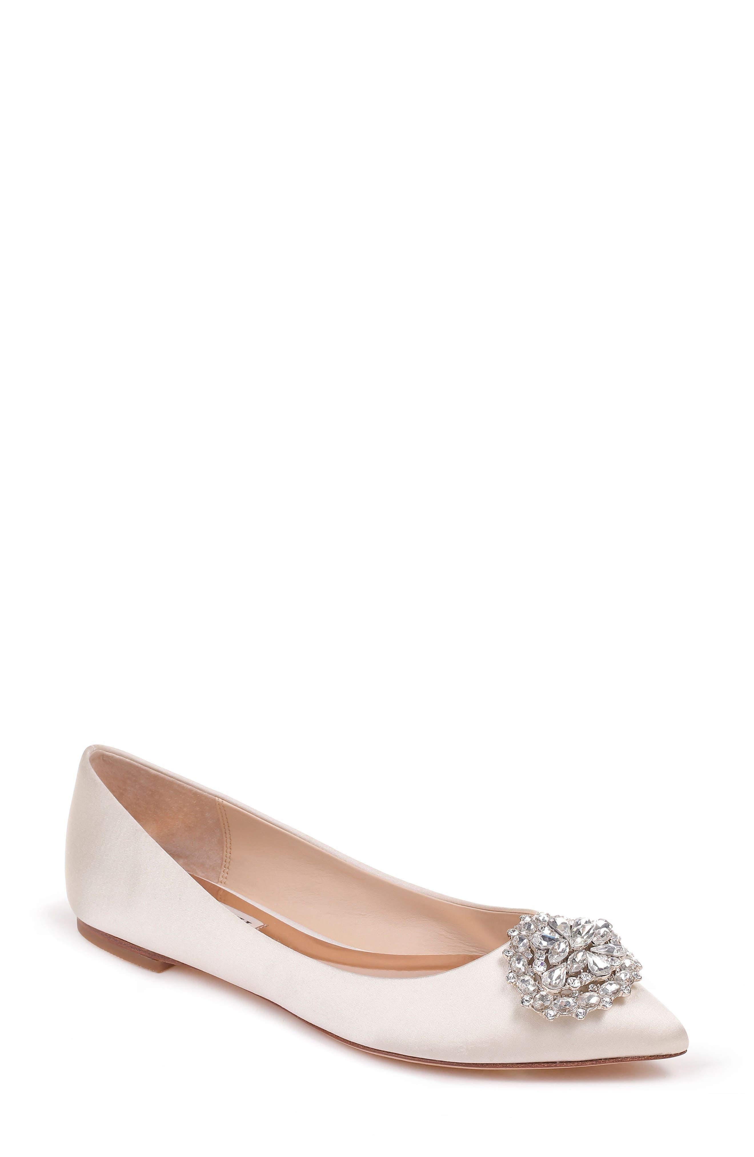 'Davis' Crystal Embellished Pointy Toe Flat,                             Main thumbnail 1, color,                             Ivory Satin