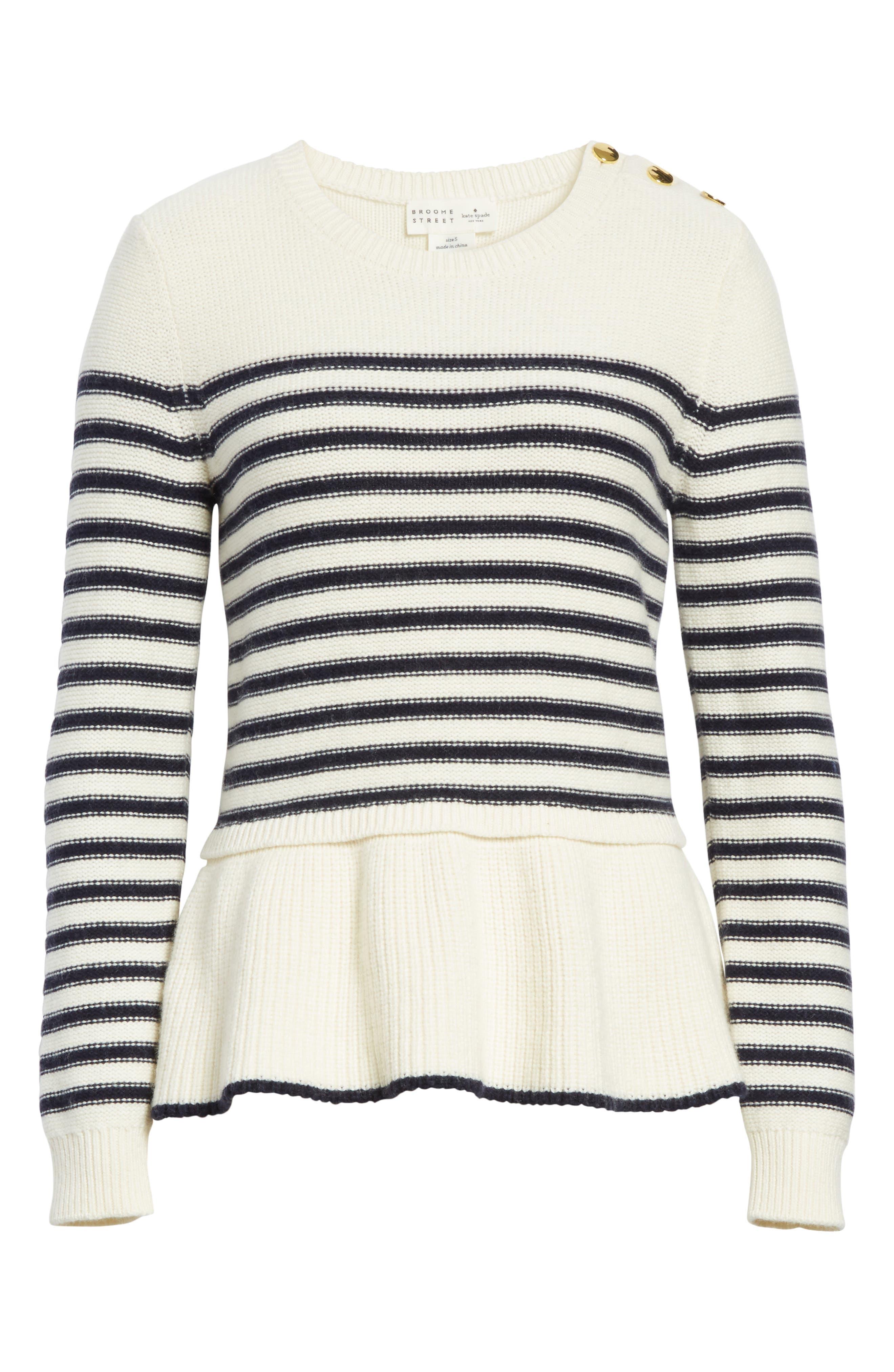 navy stripe peplum sweater,                             Alternate thumbnail 6, color,                             Cream/ Rich Navy