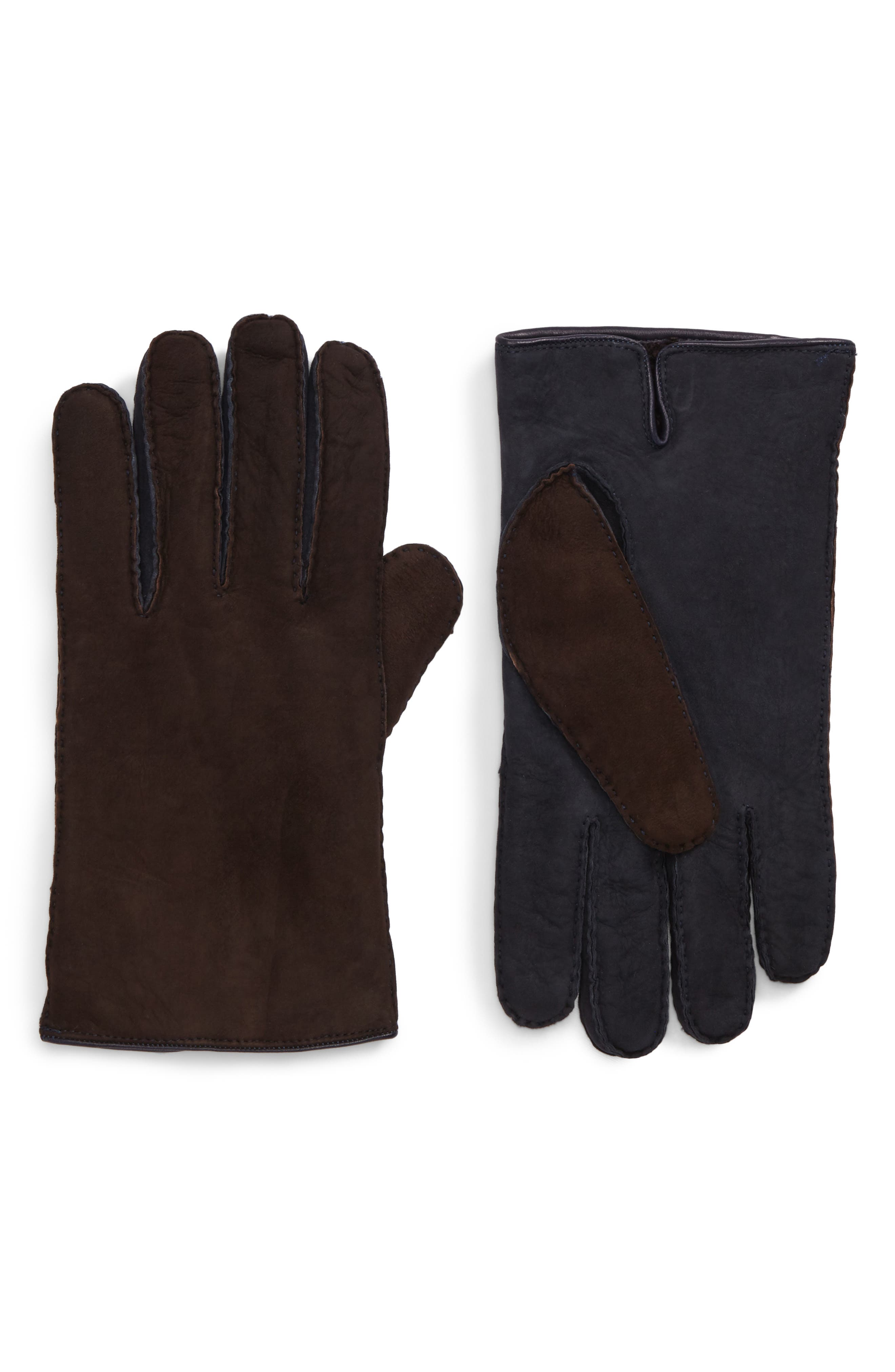 Leather Gloves,                         Main,                         color, Brown/ Navy