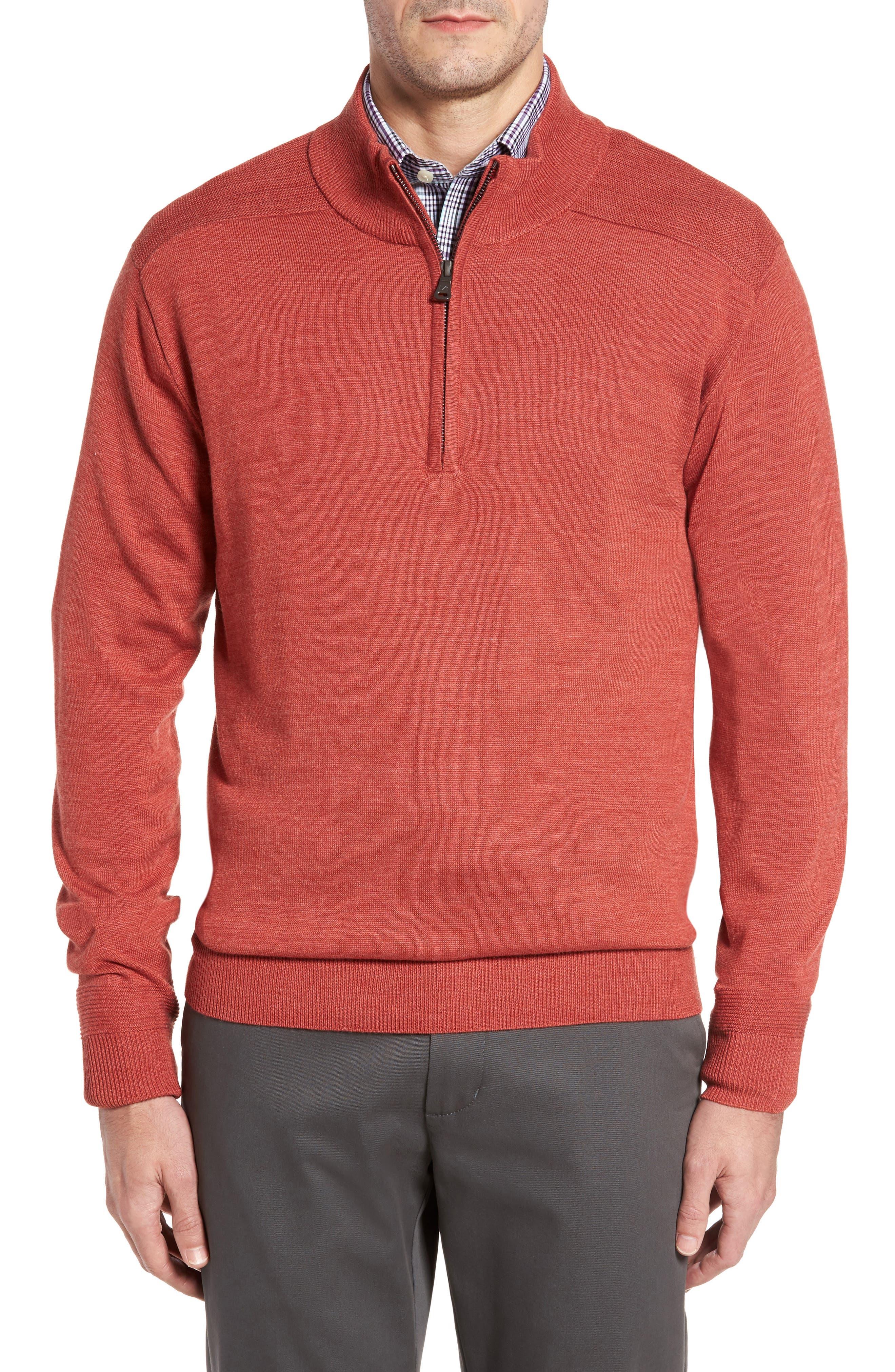 Main Image - Cutter & Buck Douglas Quarter Zip Wool Blend Sweater
