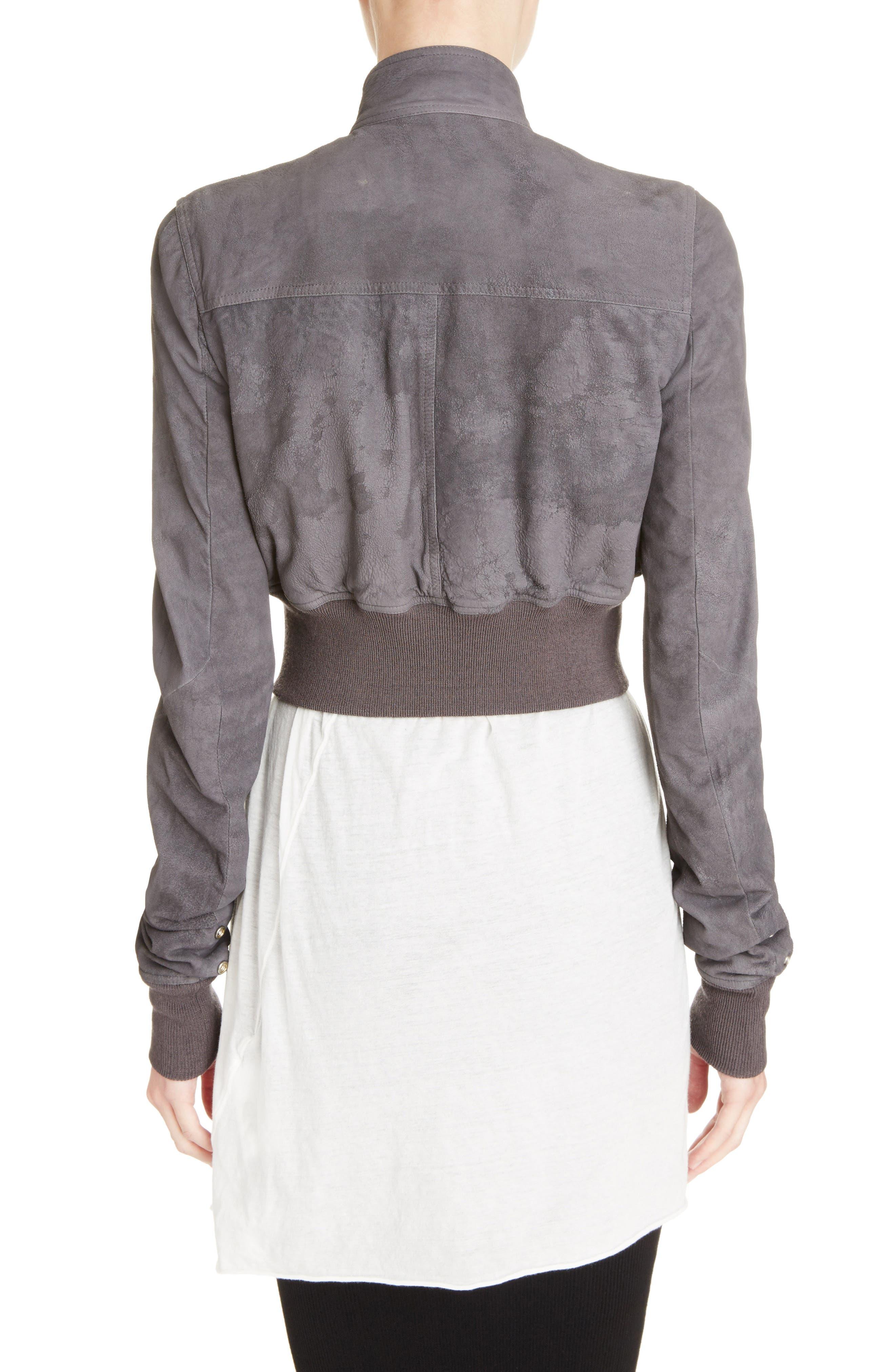 Blistered Leather Jacket,                             Alternate thumbnail 2, color,                             Iron