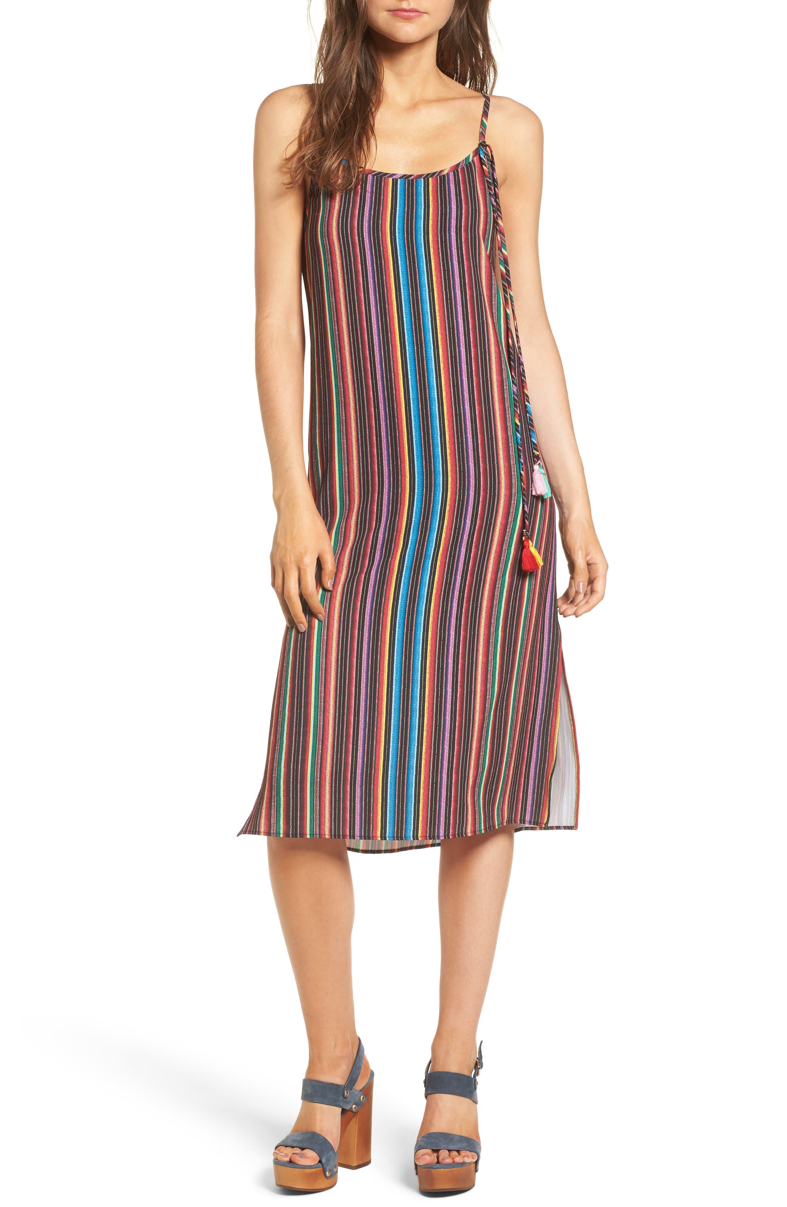 Shiloh Tassel Slipdress,                         Main,                         color, Siesta Siesta Stripe