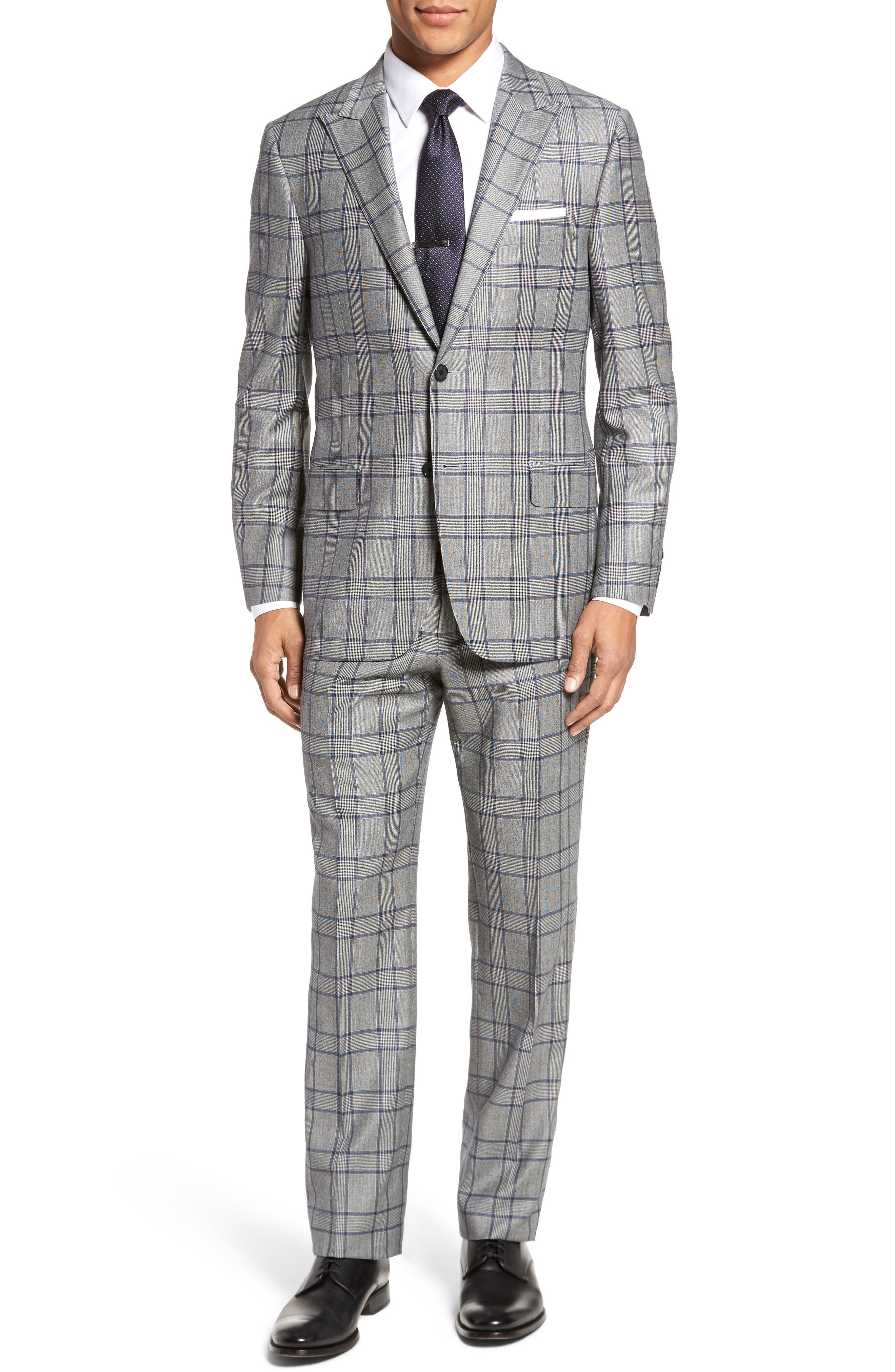 Hickey Freeman Classic B Fit Plaid Wool & Cashmere Traveler Suit