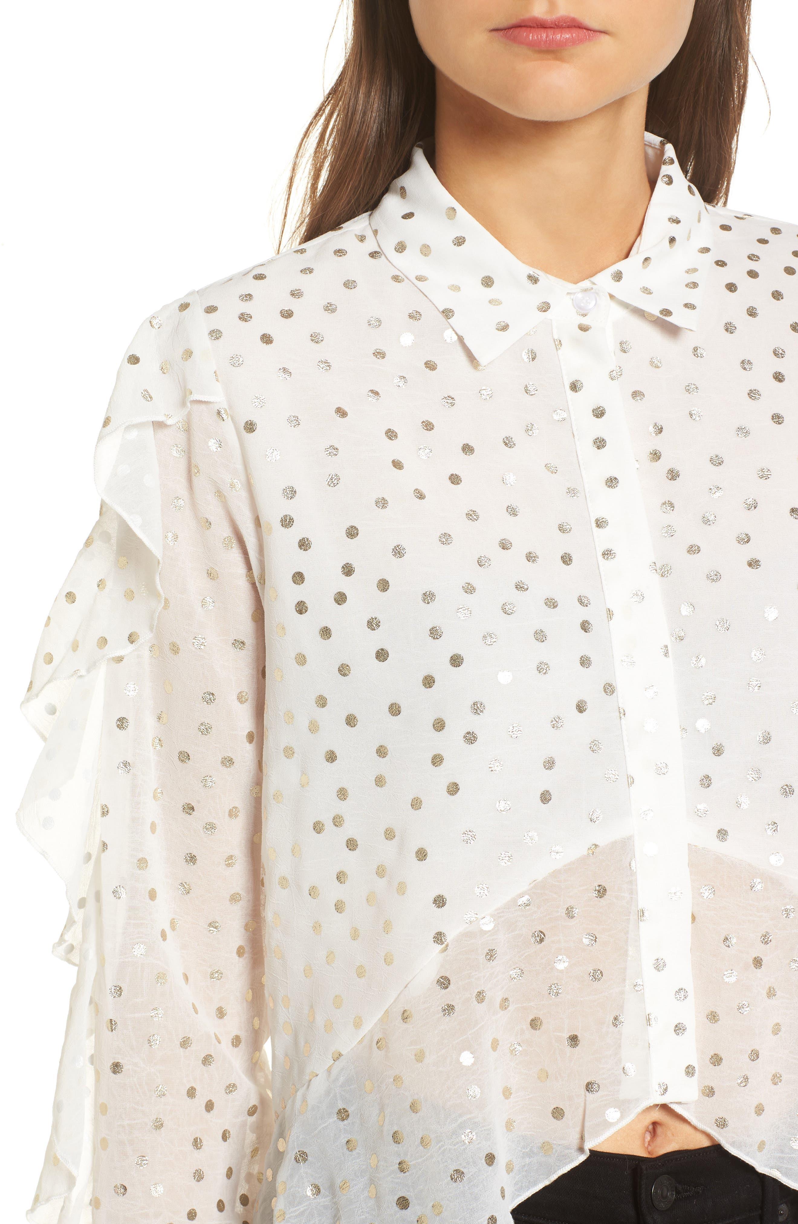 Foil Dot Blouse,                             Alternate thumbnail 5, color,                             Cream
