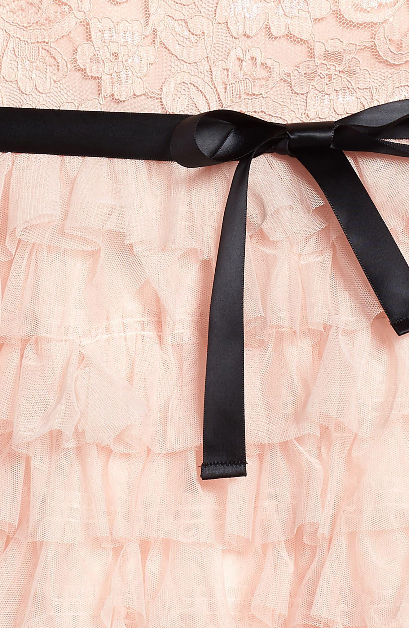 Audrey Lace & Ruffle Party Dress,                             Alternate thumbnail 3, color,                             Pink