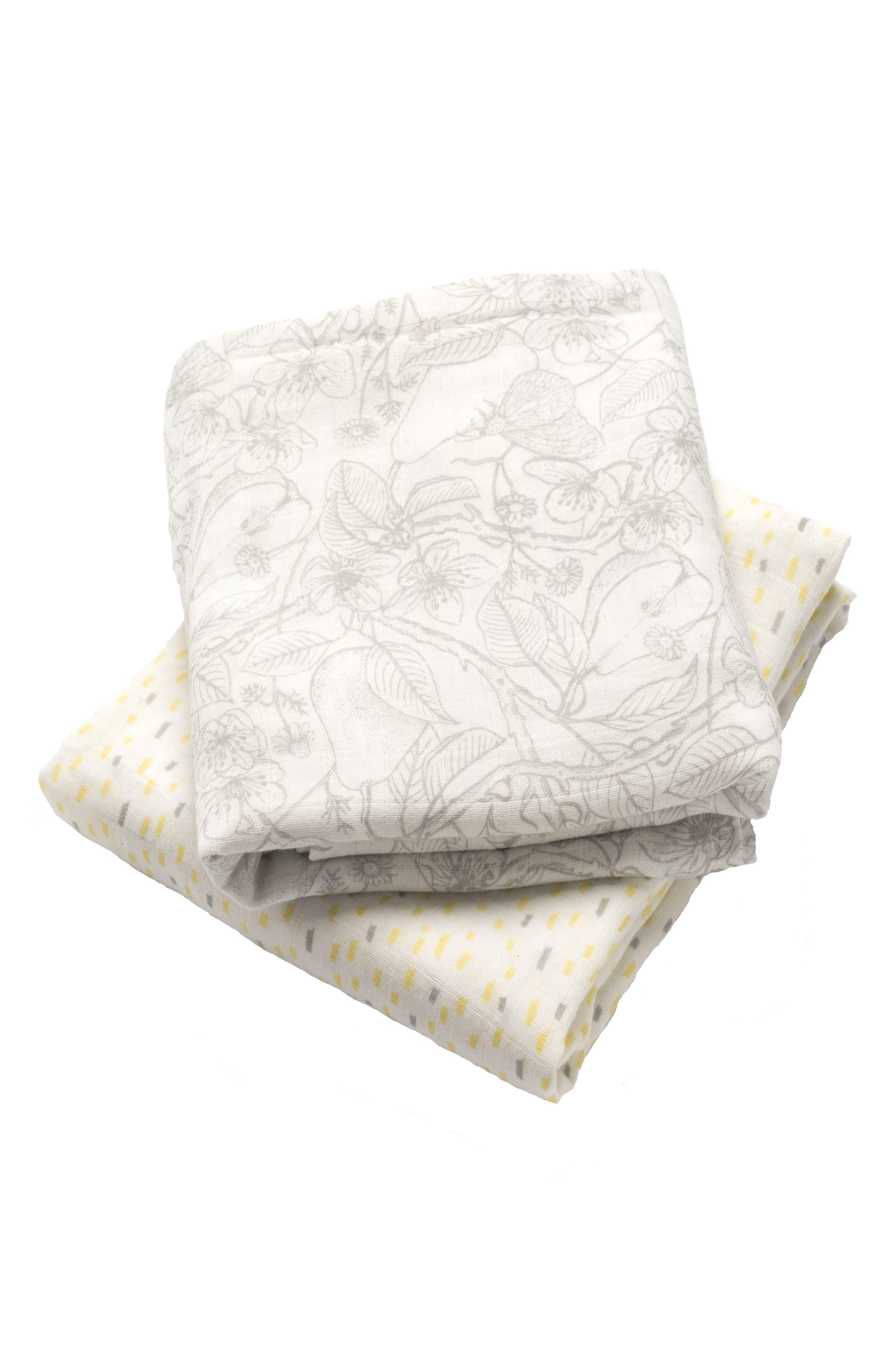 Set of 2 Muslin Swaddling Cloths,                         Main,                         color, Multi
